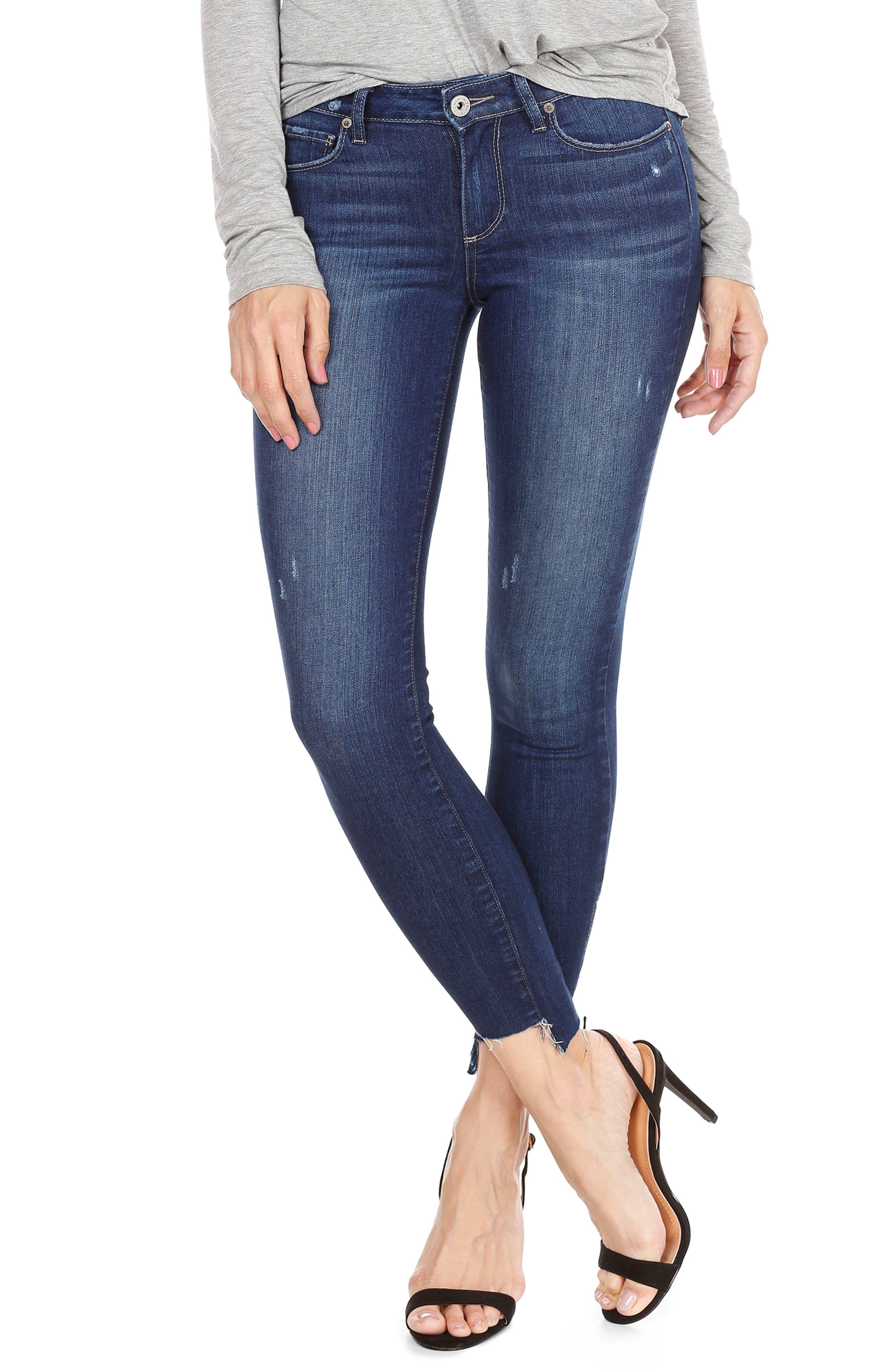 Hoxton High Waist Ankle Skinny Jeans,                             Alternate thumbnail 3, color,                             Marina