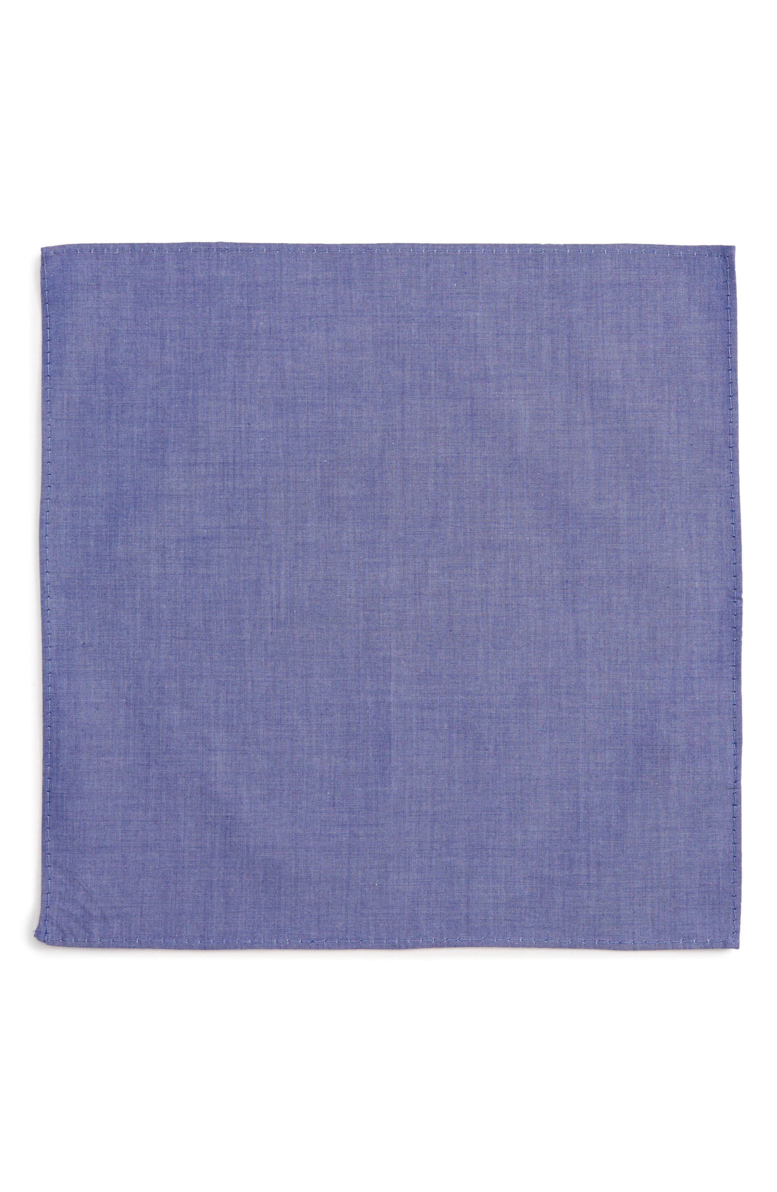 Chambray Pocket Square,                             Alternate thumbnail 2, color,                             Royal