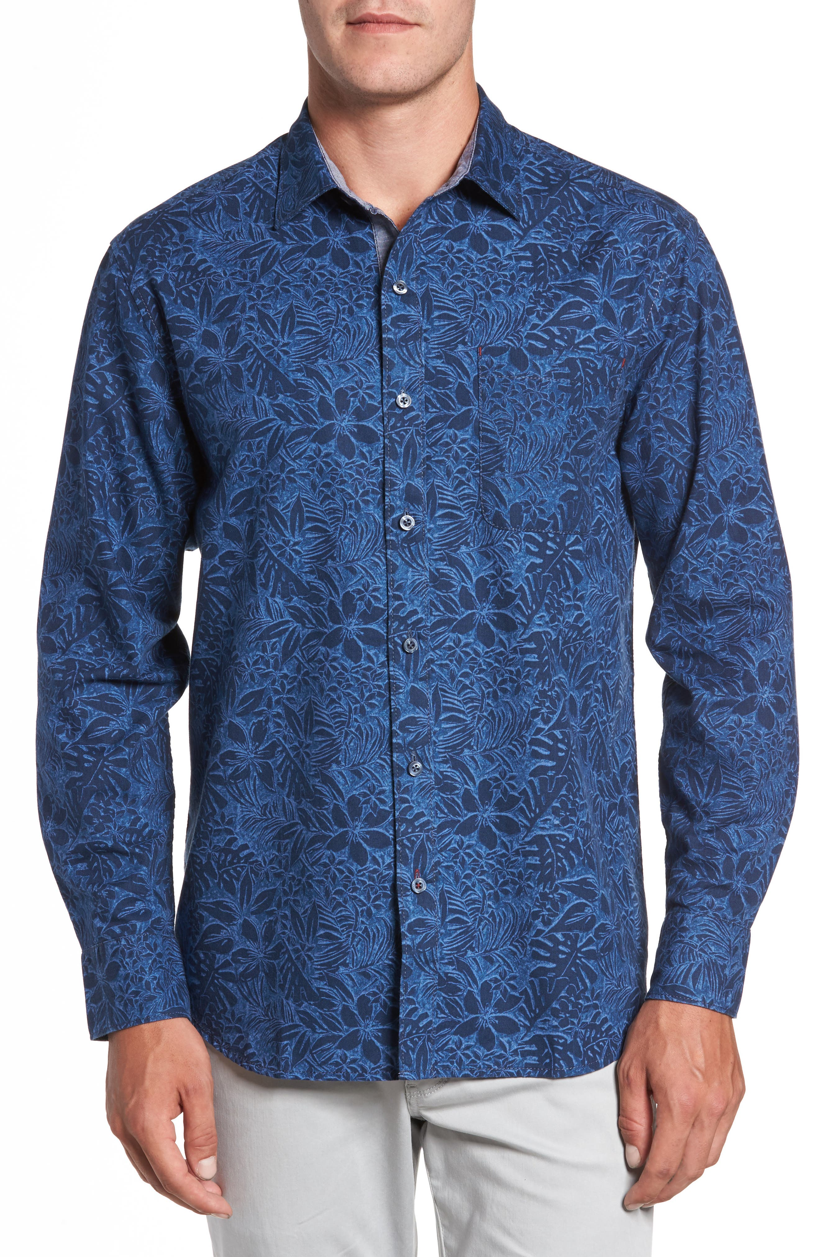 Safari Stinger Standard Fit Sport Shirt,                         Main,                         color, Bering Blue
