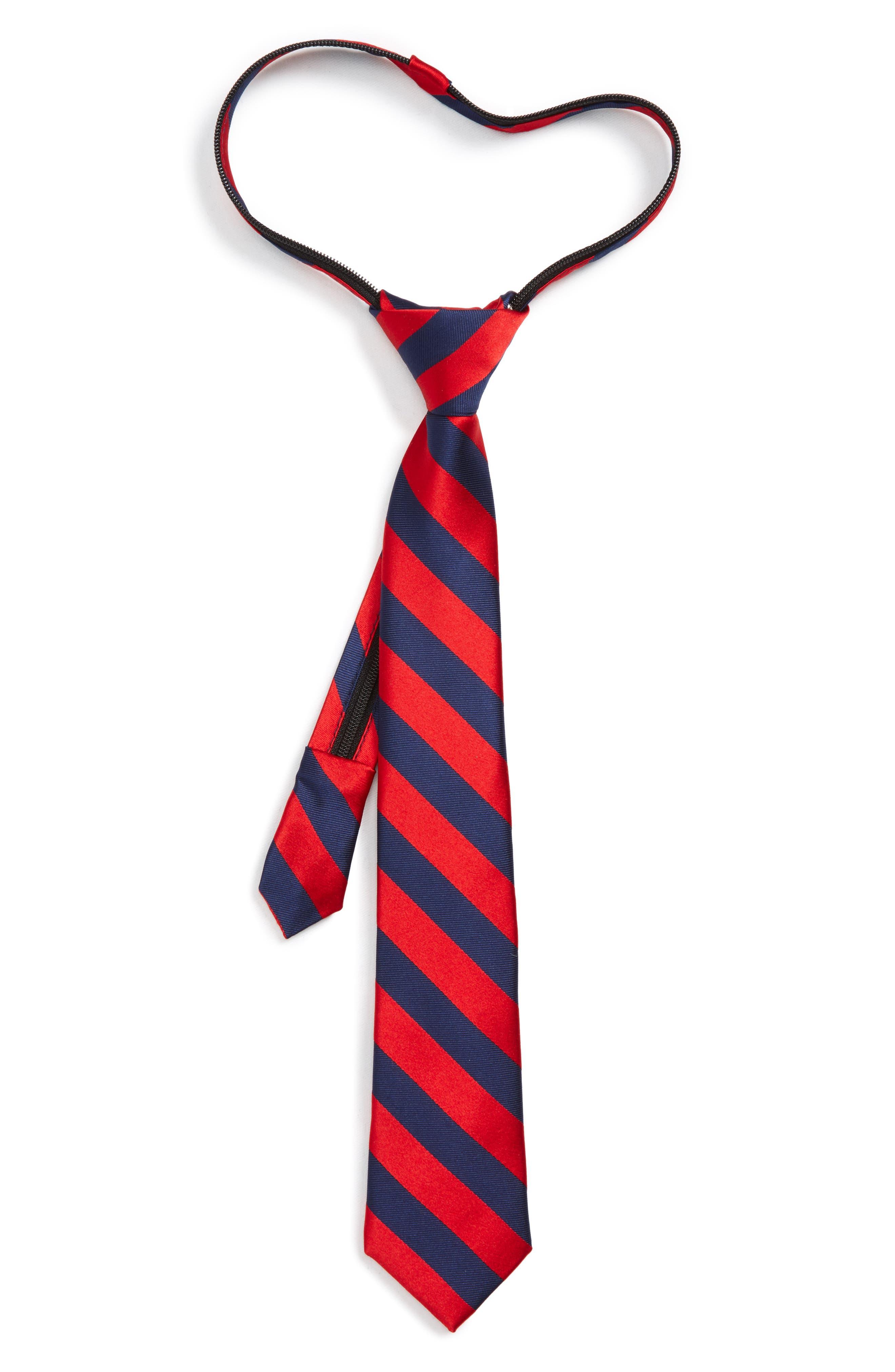 Stripe Silk Zip Tie,                             Main thumbnail 1, color,                             Red