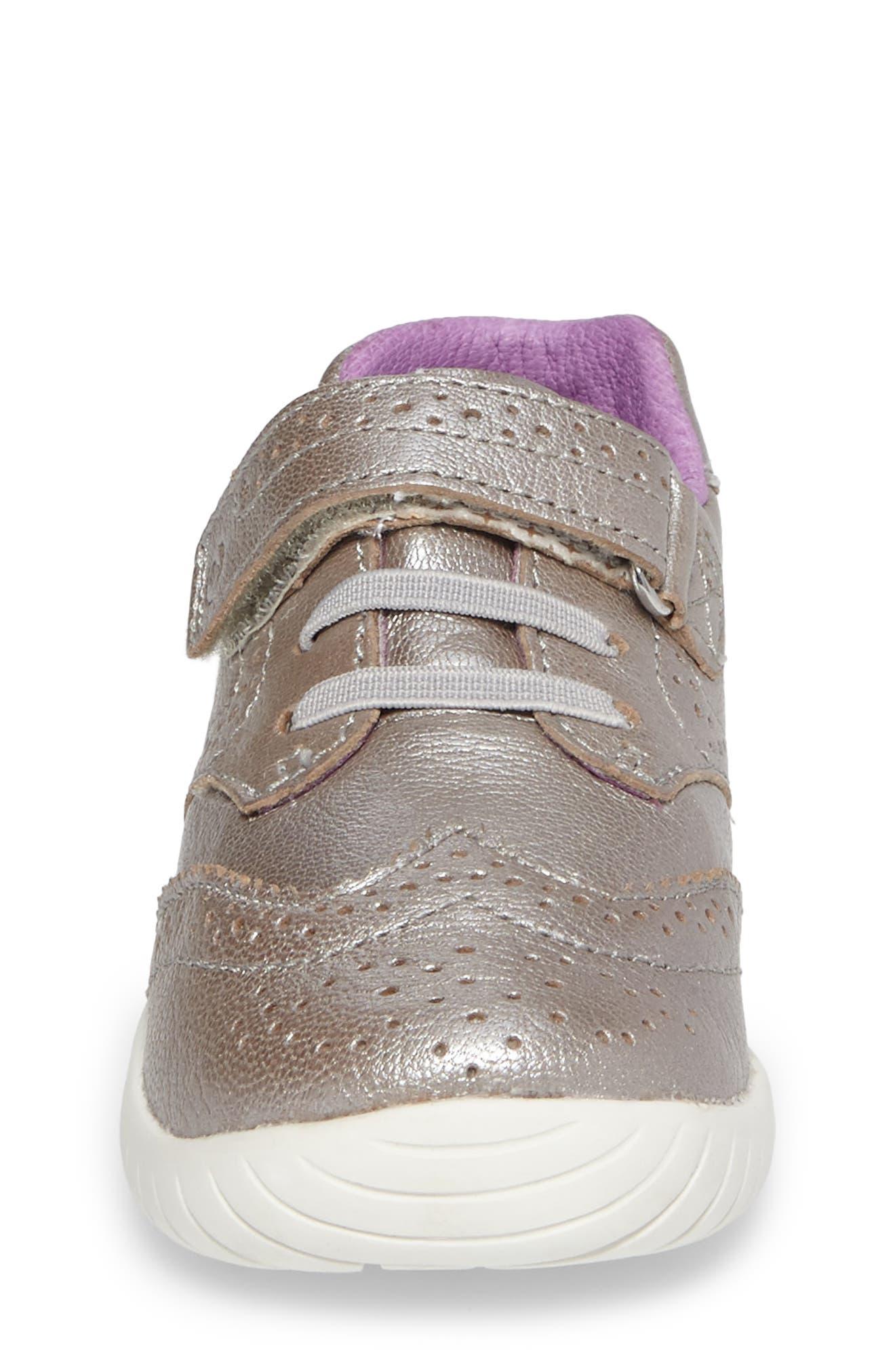 Alternate Image 4  - Stride Rite Addison Metallic Wingtip Sneaker (Baby, Walker & Toddler)