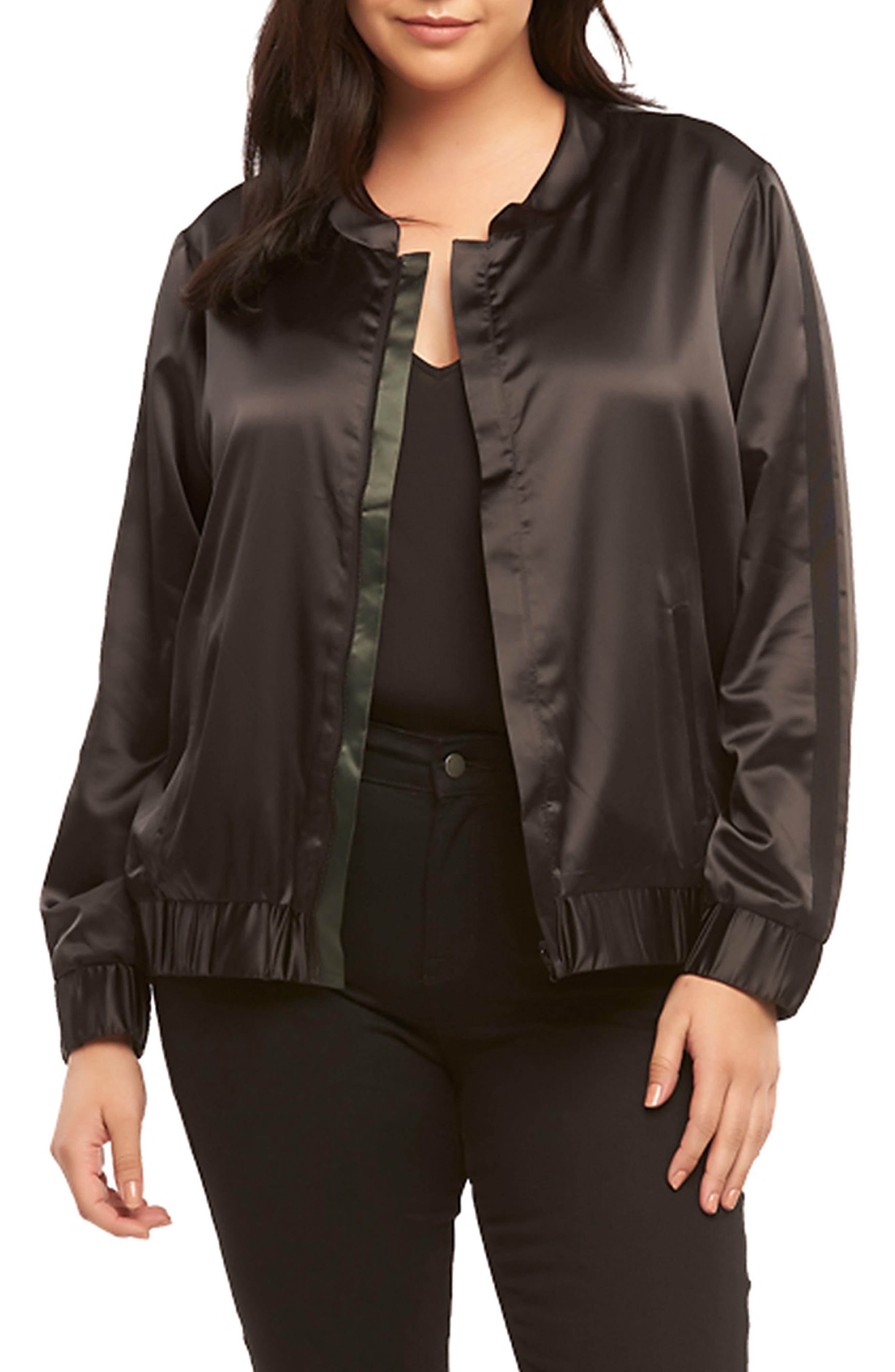 Azaria Reversible Bomber Jacket,                         Main,                         color, Black/ Urban Chic