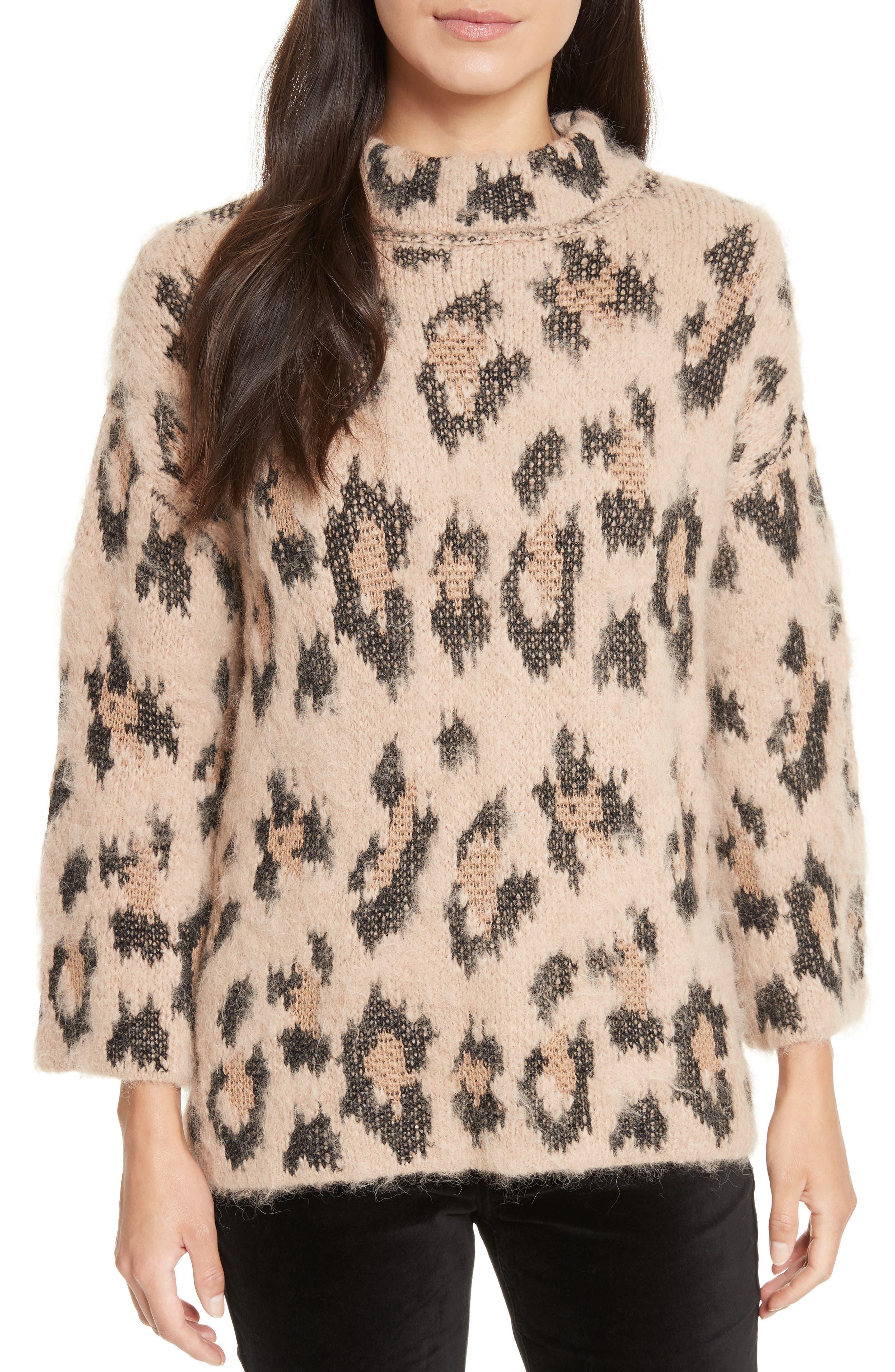 leopard print chunky sweater,                         Main,                         color, Warm Caramel