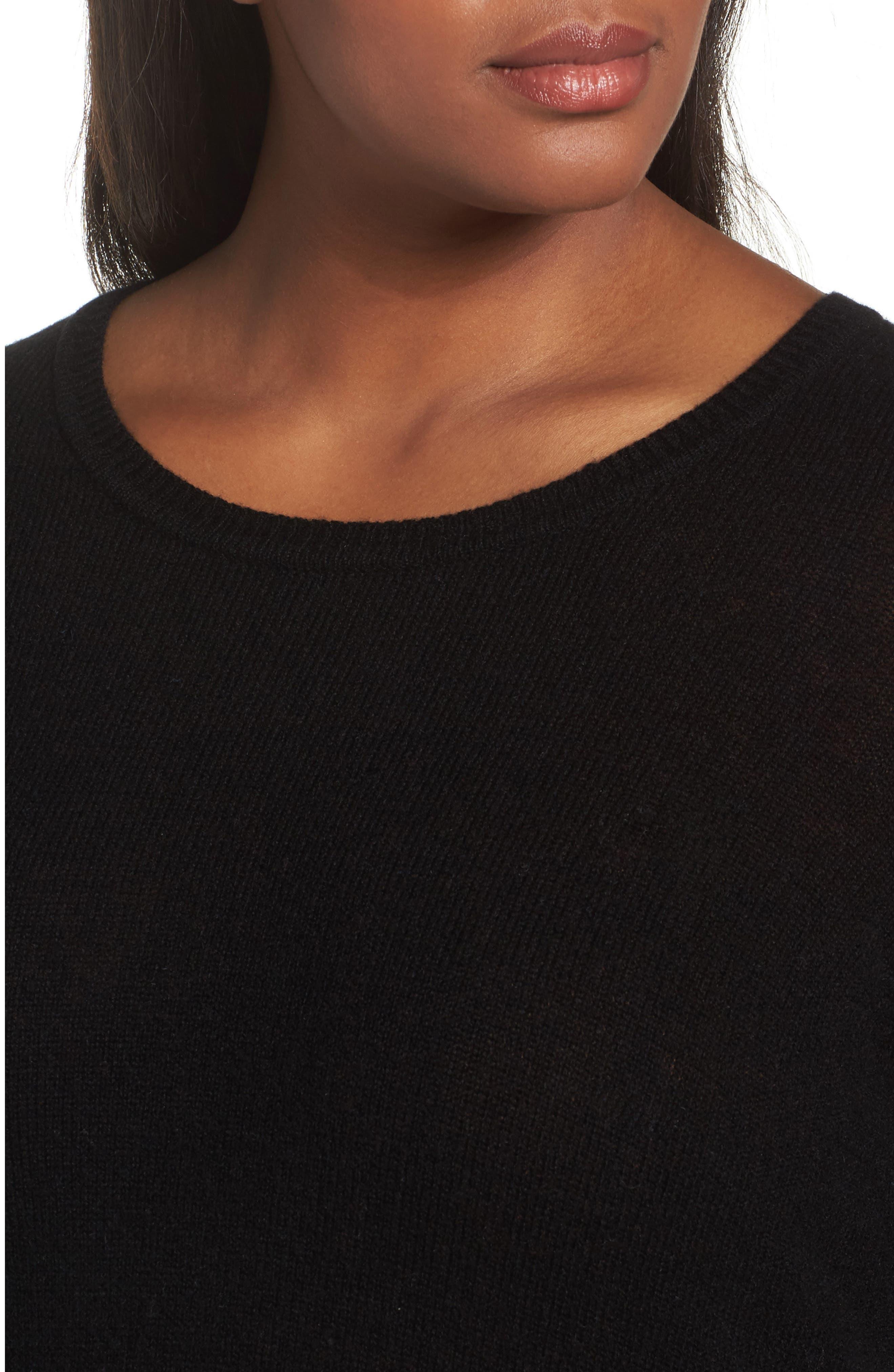 Crewneck Side Split Wool & Cashmere Pullover,                             Alternate thumbnail 4, color,                             Black