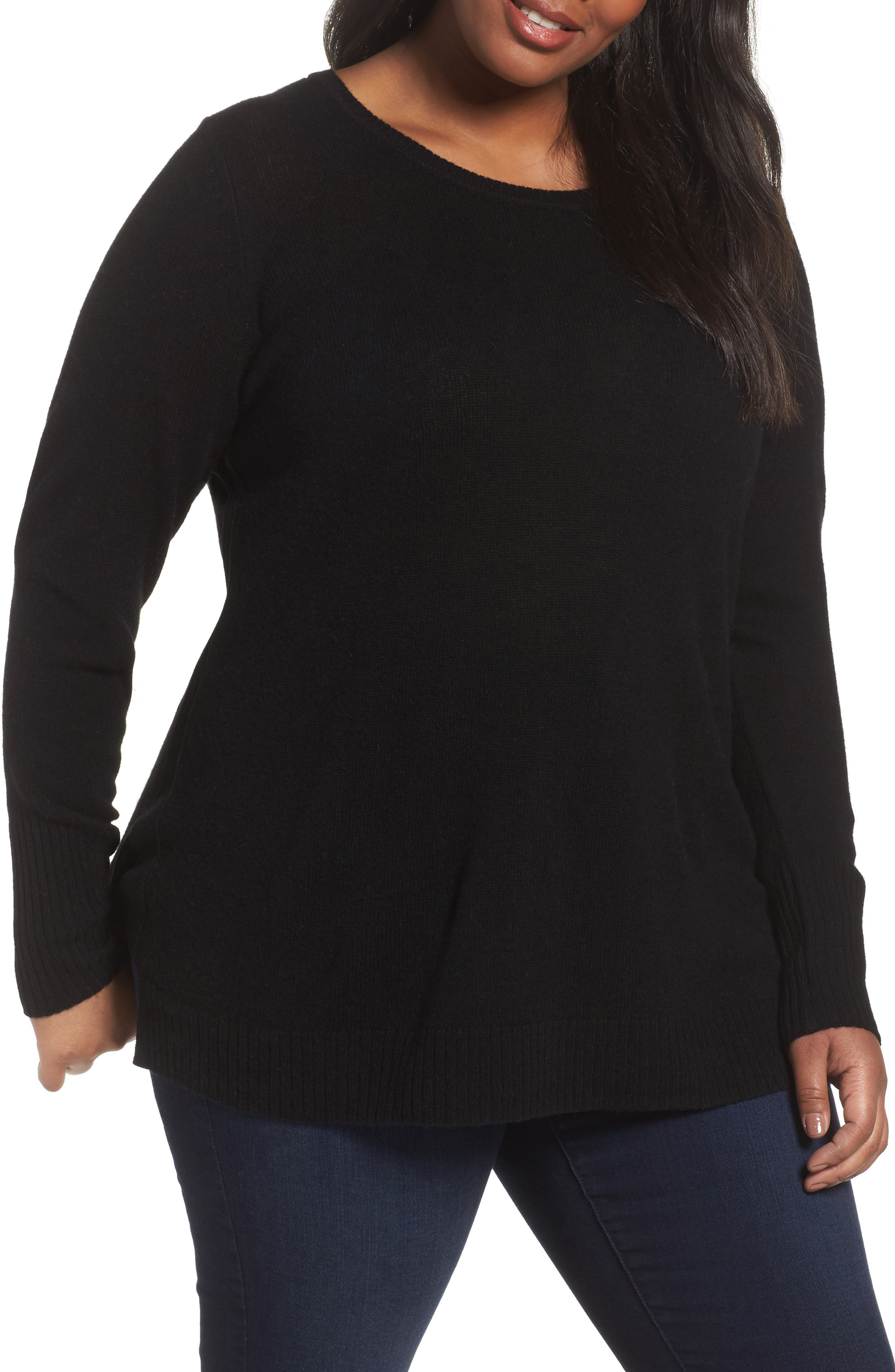 Crewneck Side Split Wool & Cashmere Pullover,                             Main thumbnail 1, color,                             Black