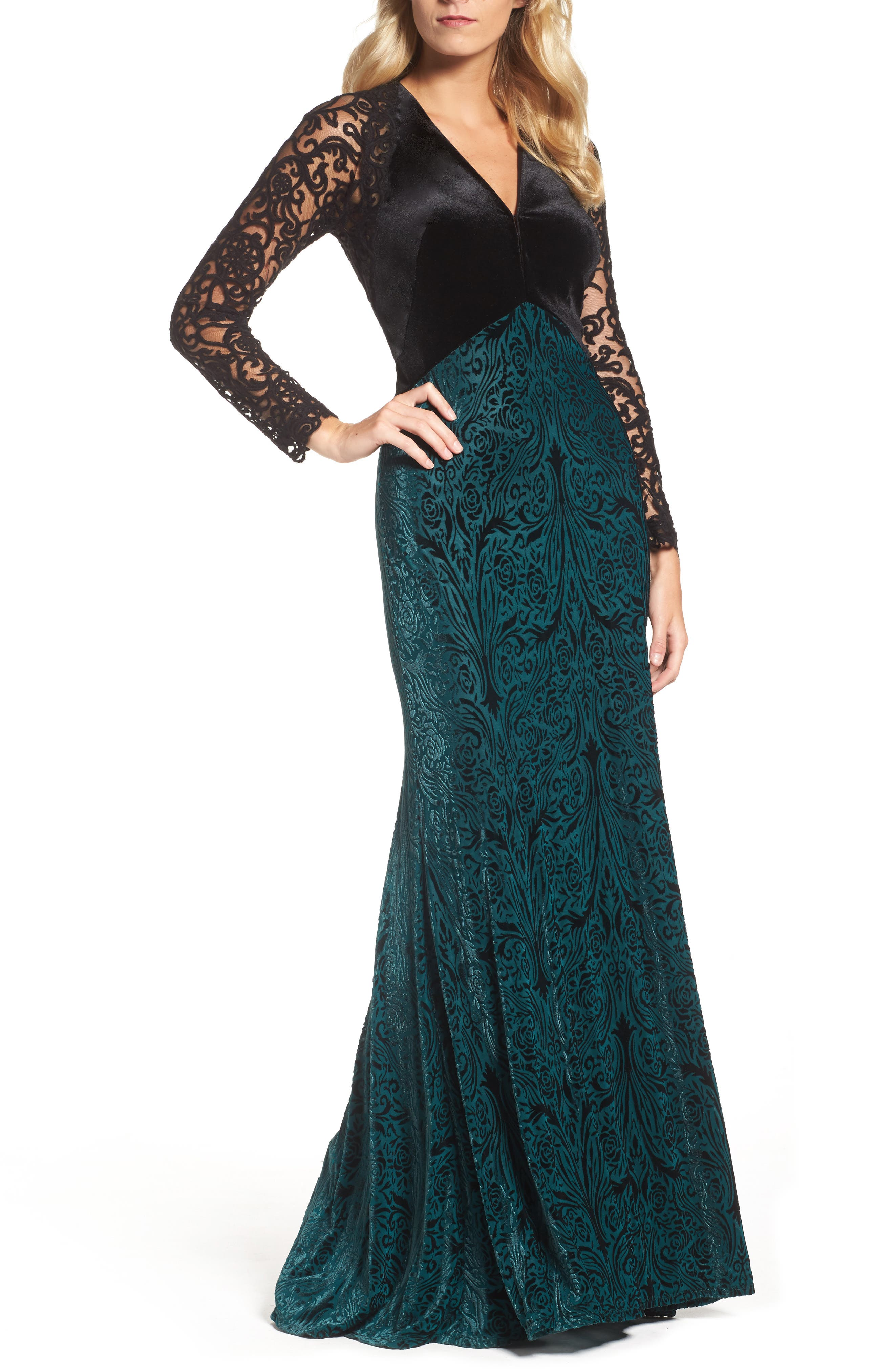 V-Neck Velvet & Illusion Gown,                             Main thumbnail 1, color,                             Forest/ Black