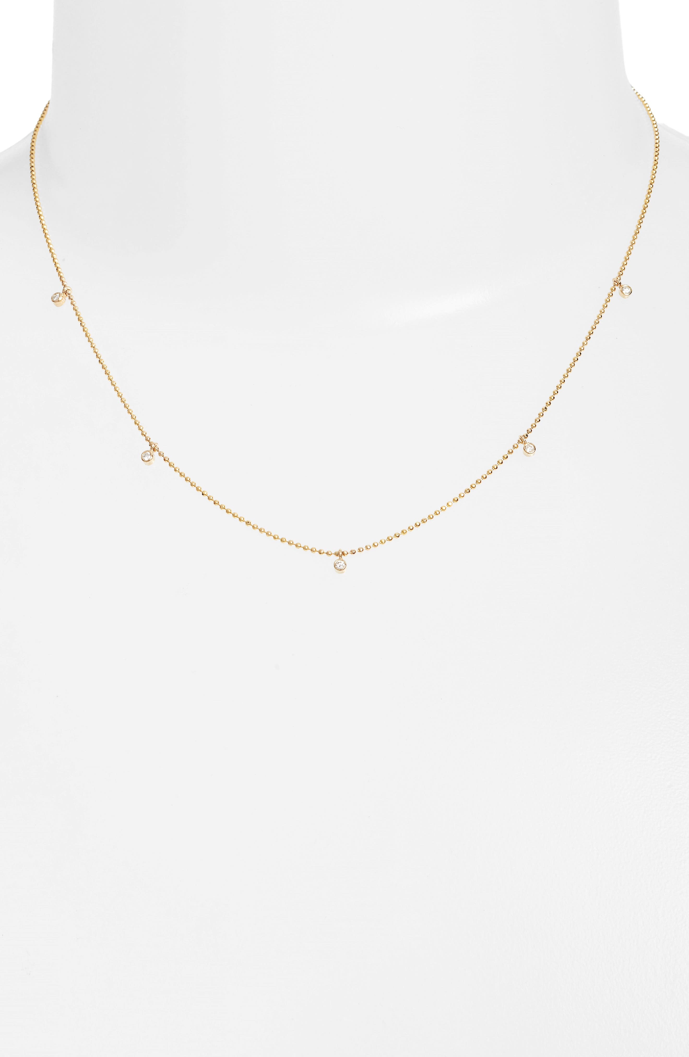 Diamond Charm Necklace,                             Main thumbnail 1, color,                             Yellow Gold
