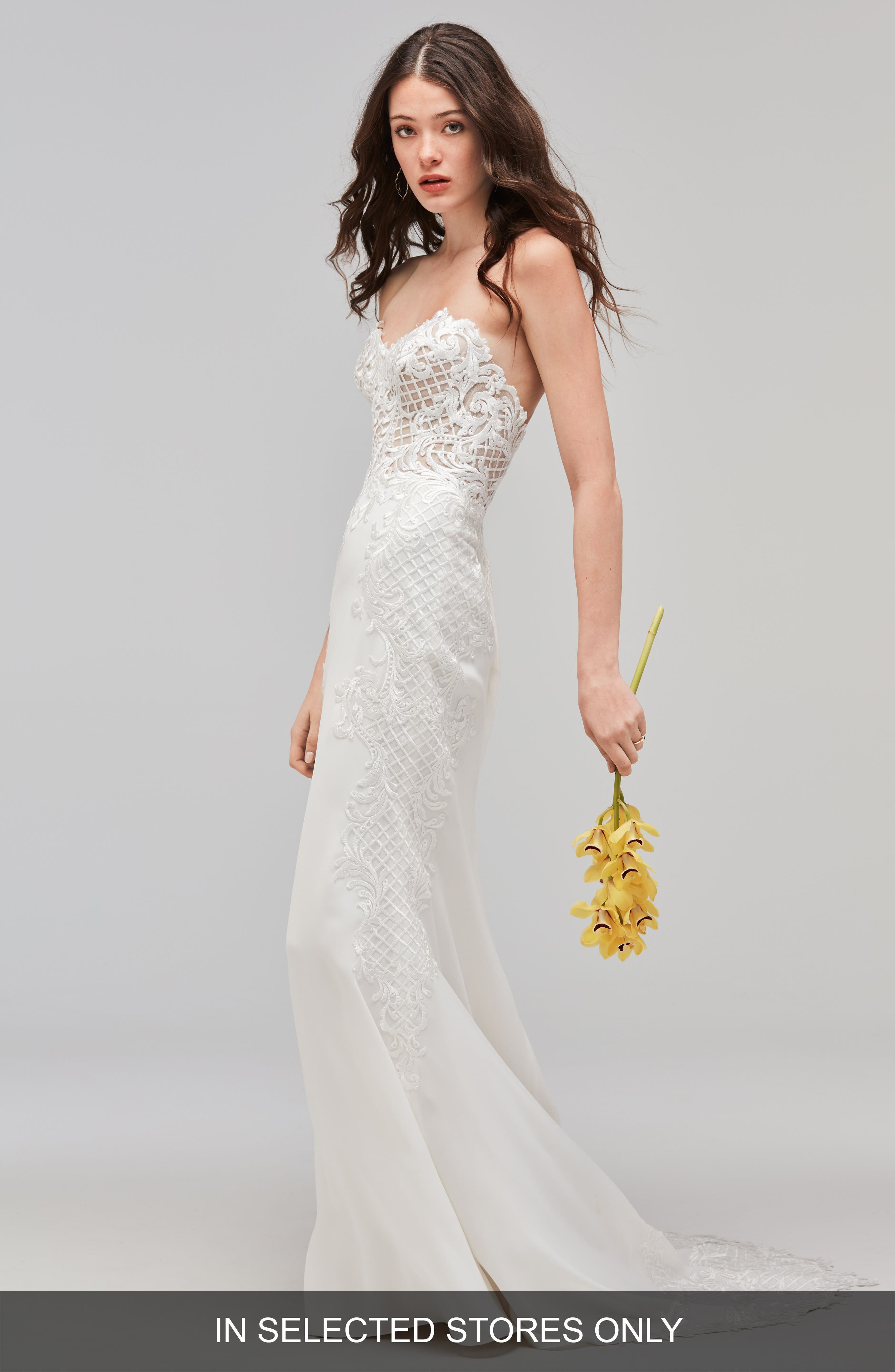 Haizea Strapless Lace & Crepe Gown,                             Main thumbnail 1, color,                             Ivory