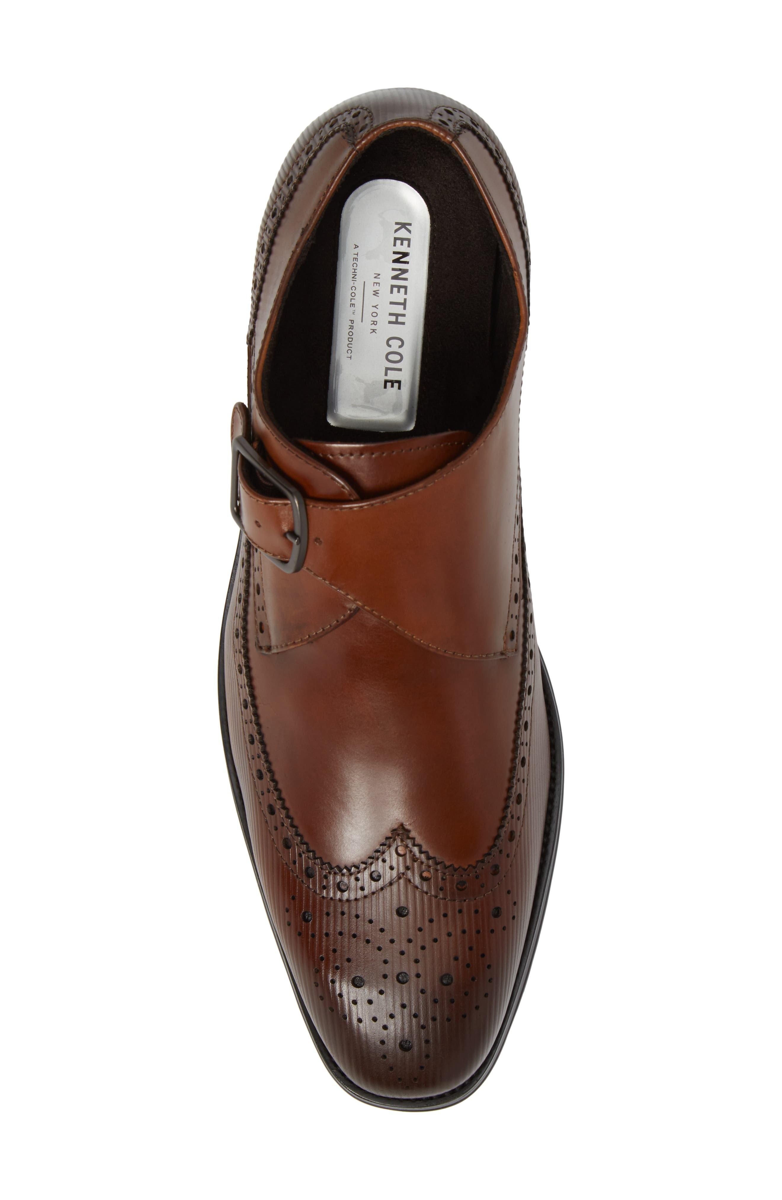 Design Monk Strap Shoe,                             Alternate thumbnail 5, color,                             Cognac Leather