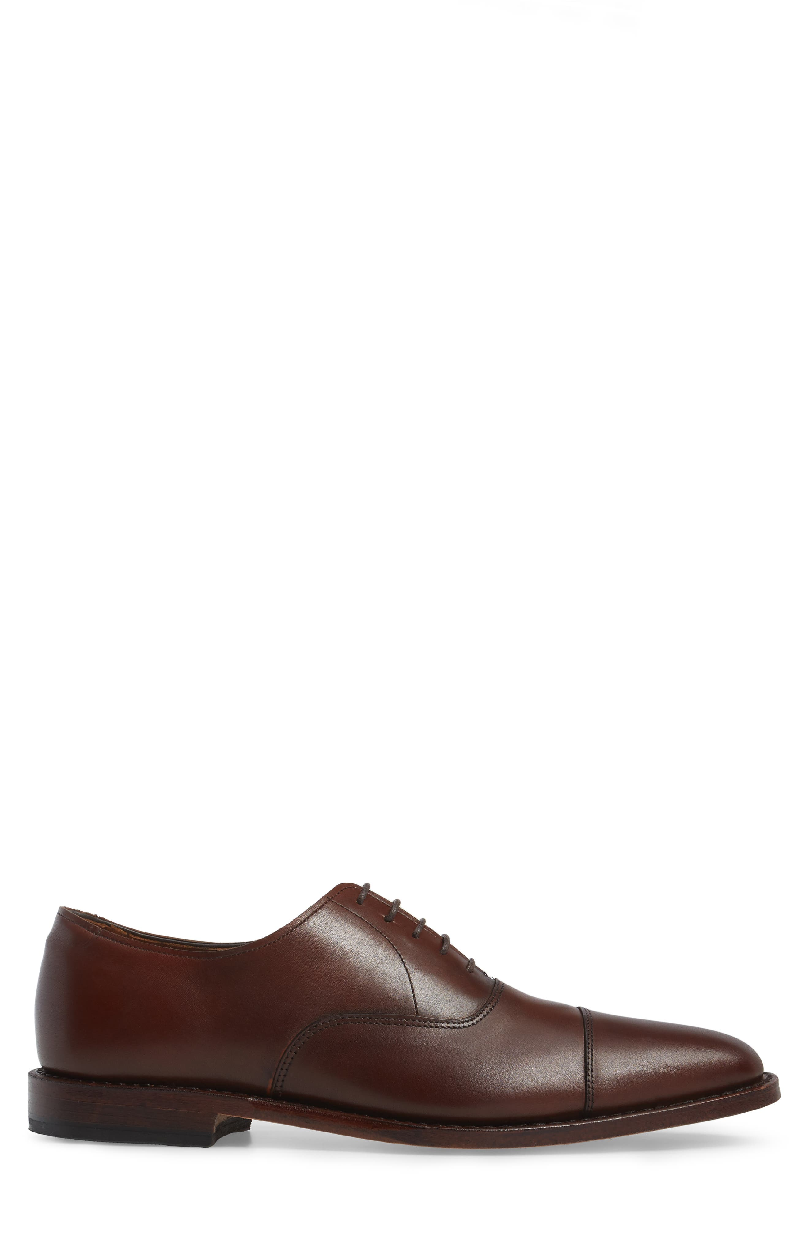 'Exchange Place' Cap Toe Oxford,                             Alternate thumbnail 3, color,                             Dark Chili Leather