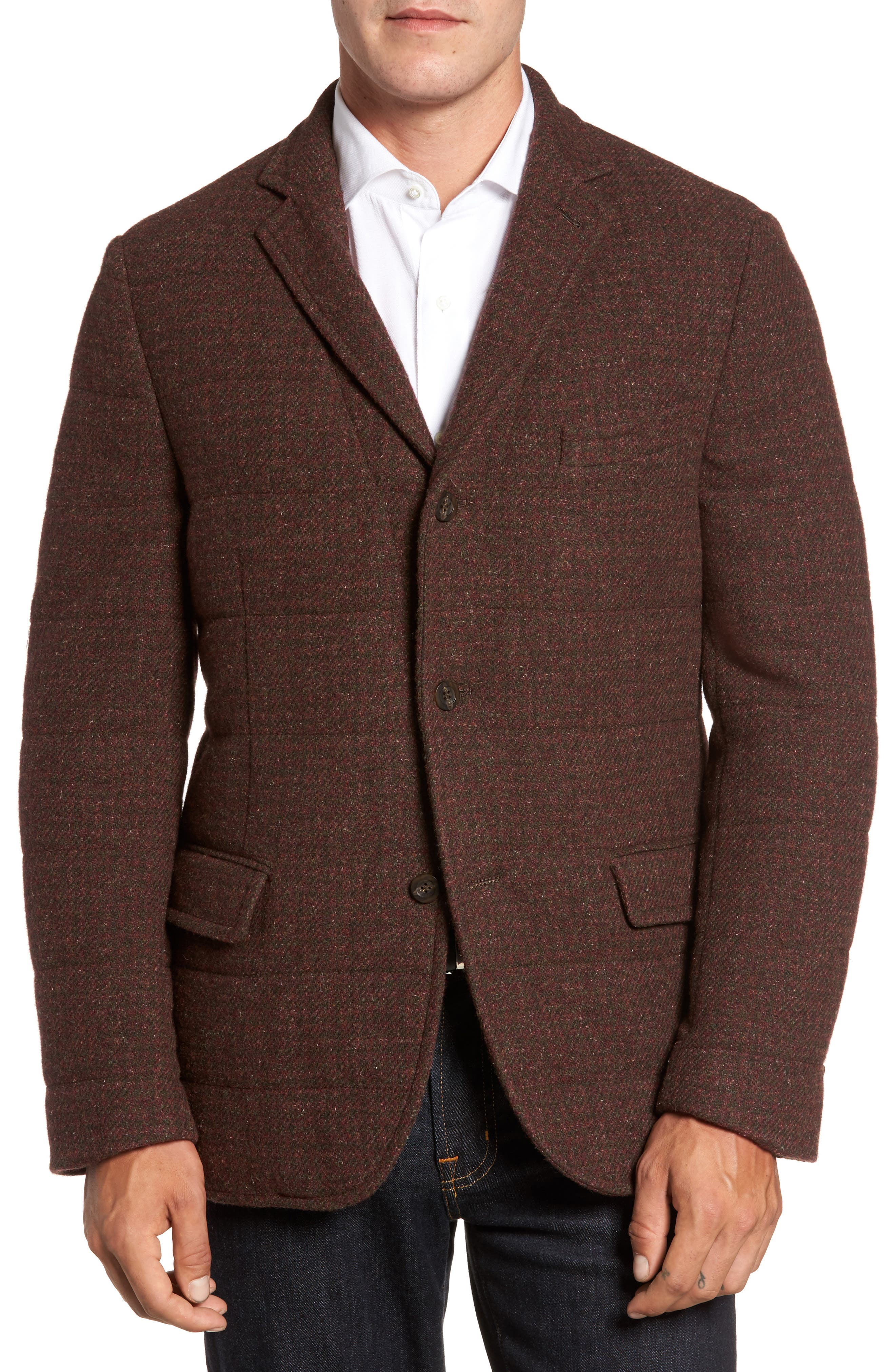 Quilted Wool Blend Hybrid Coat,                         Main,                         color, Rust/ Olive