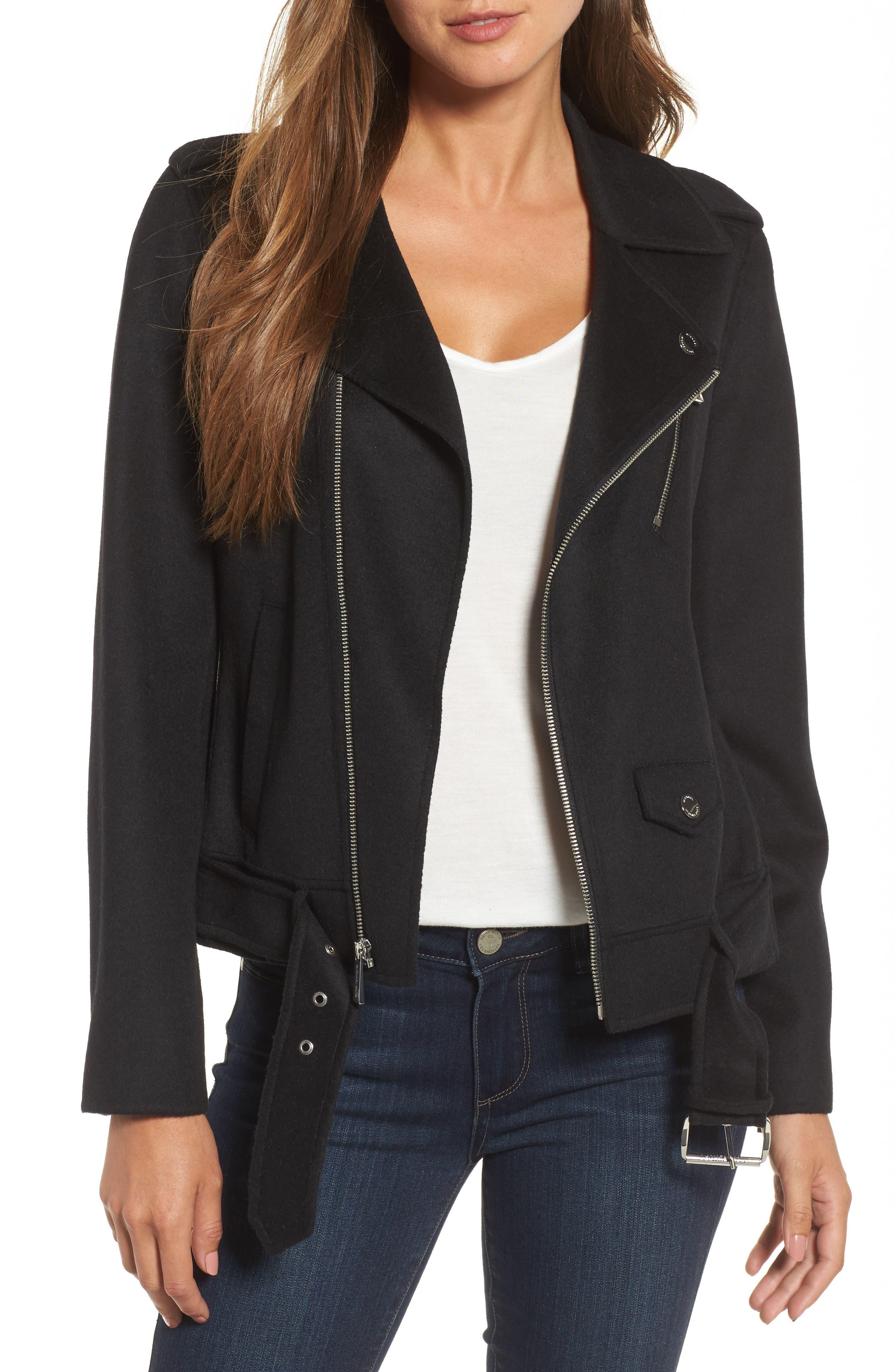 Alternate Image 1 Selected - MICHAEL Michael Kors Wool Blend Moto Jacket (Regular & Petite)