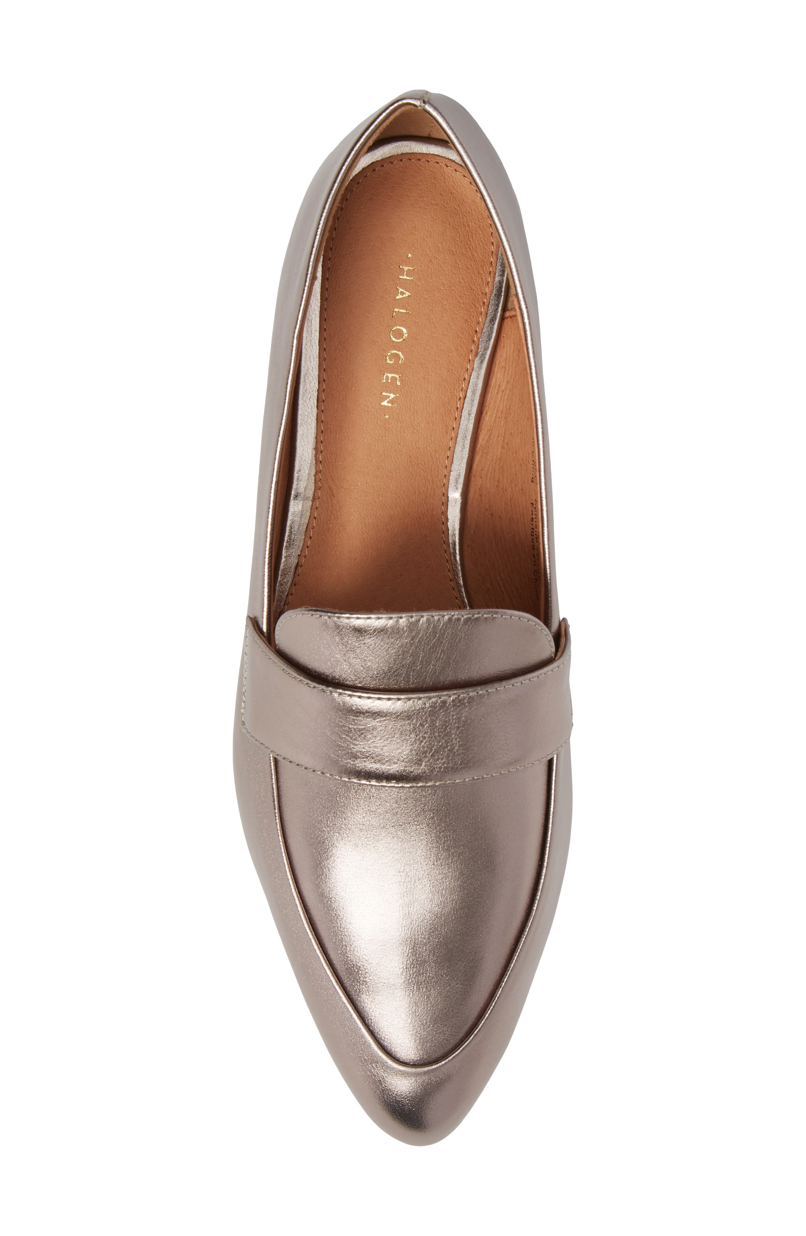 Camille Loafer,                             Alternate thumbnail 5, color,                             Pewter Metallic Leather