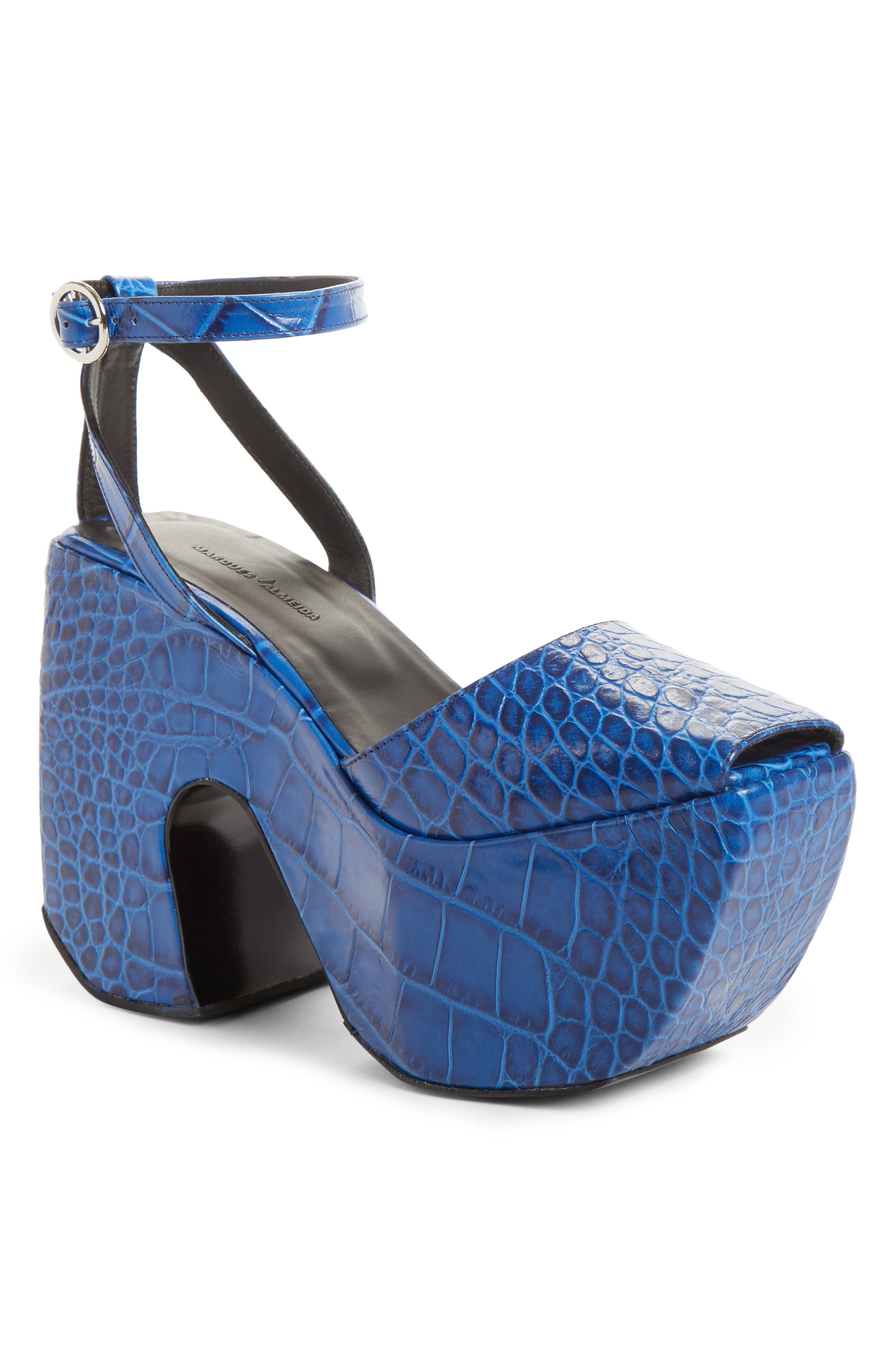 Marques'Almeida Croc Embossed Platform Sandal (Women)