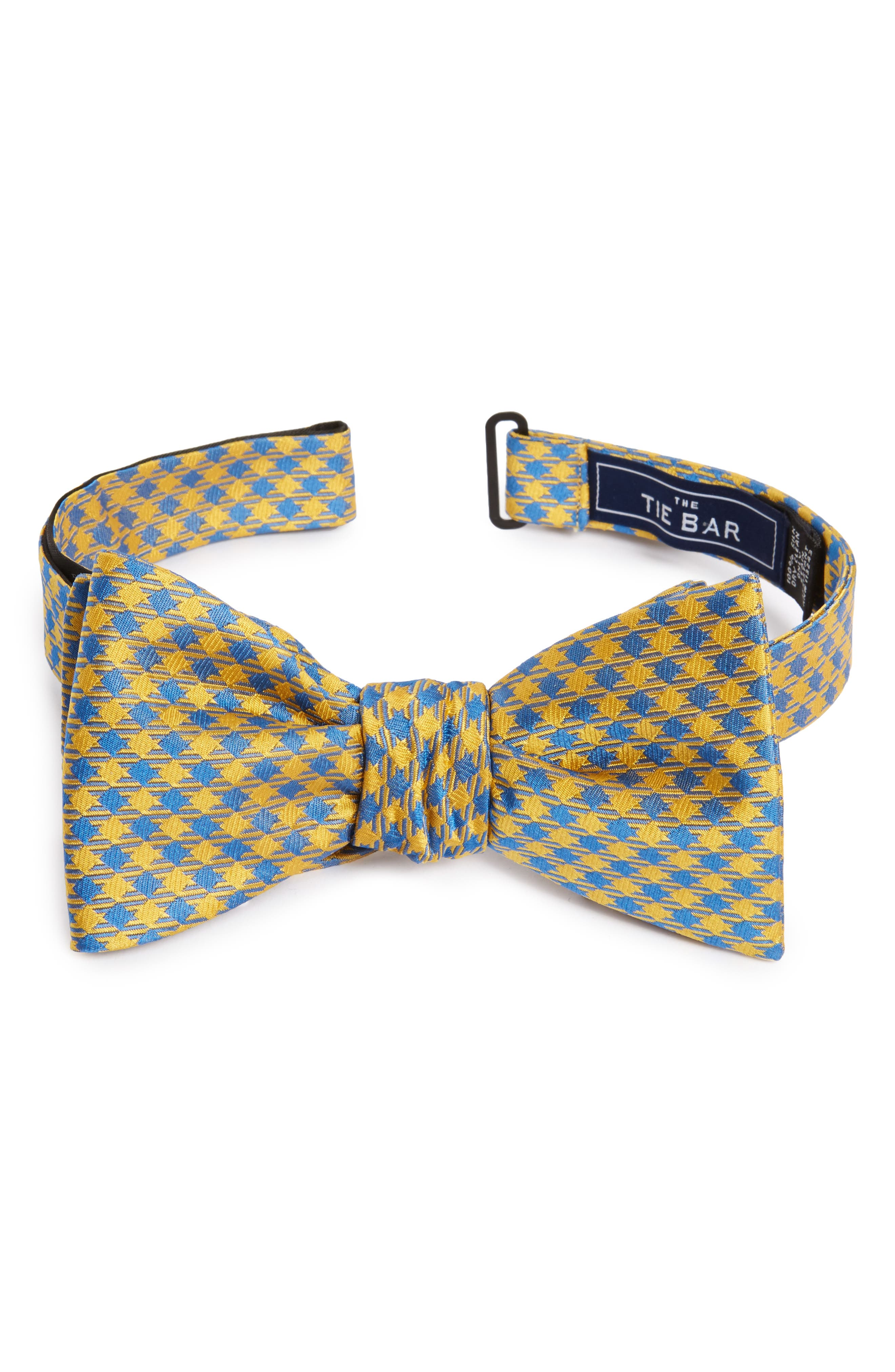Commix Check Silk Bow Tie,                         Main,                         color, Yellow