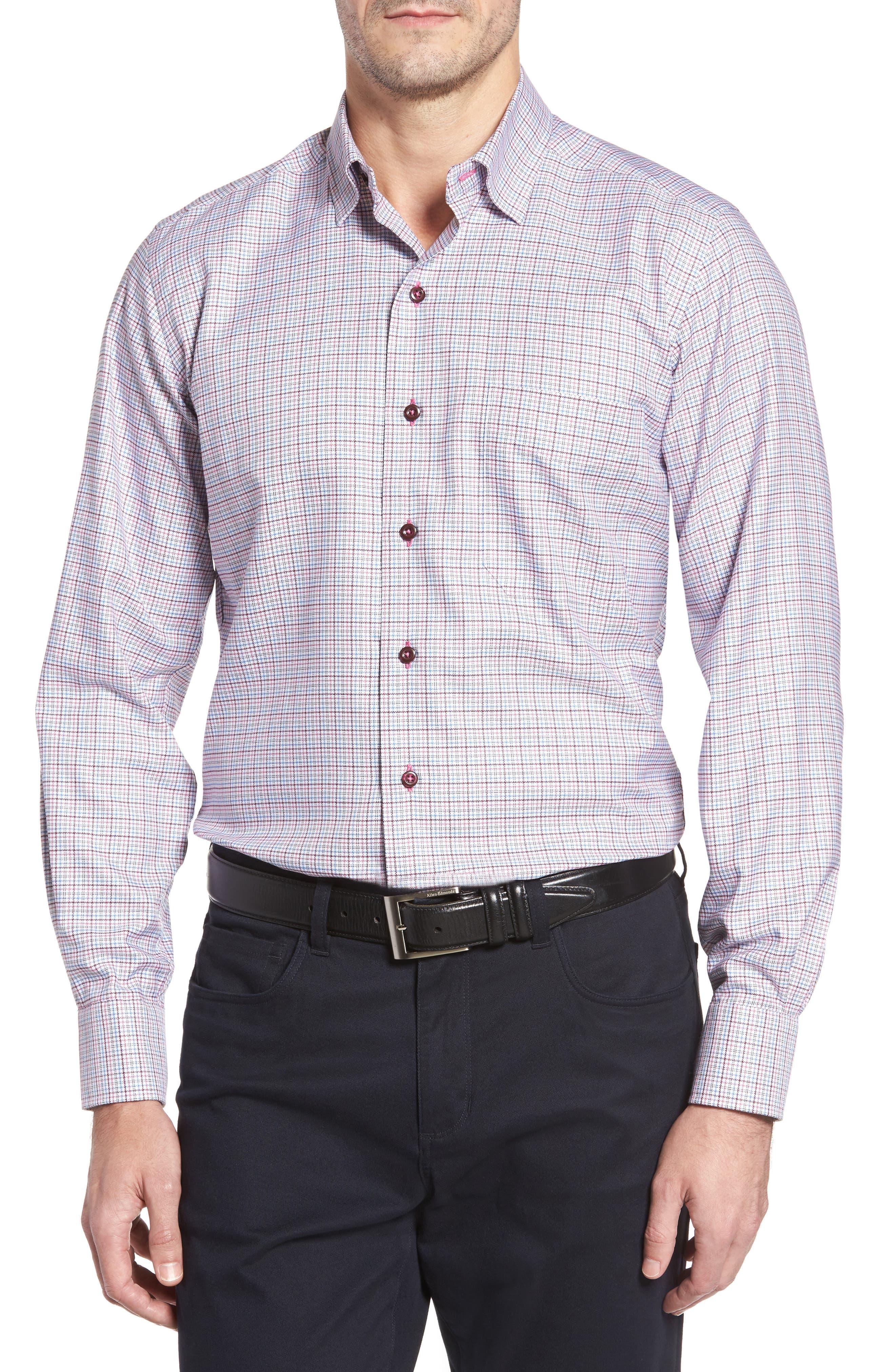 Regular Fit Plaid Sport Shirt,                         Main,                         color, Blue/ Berry