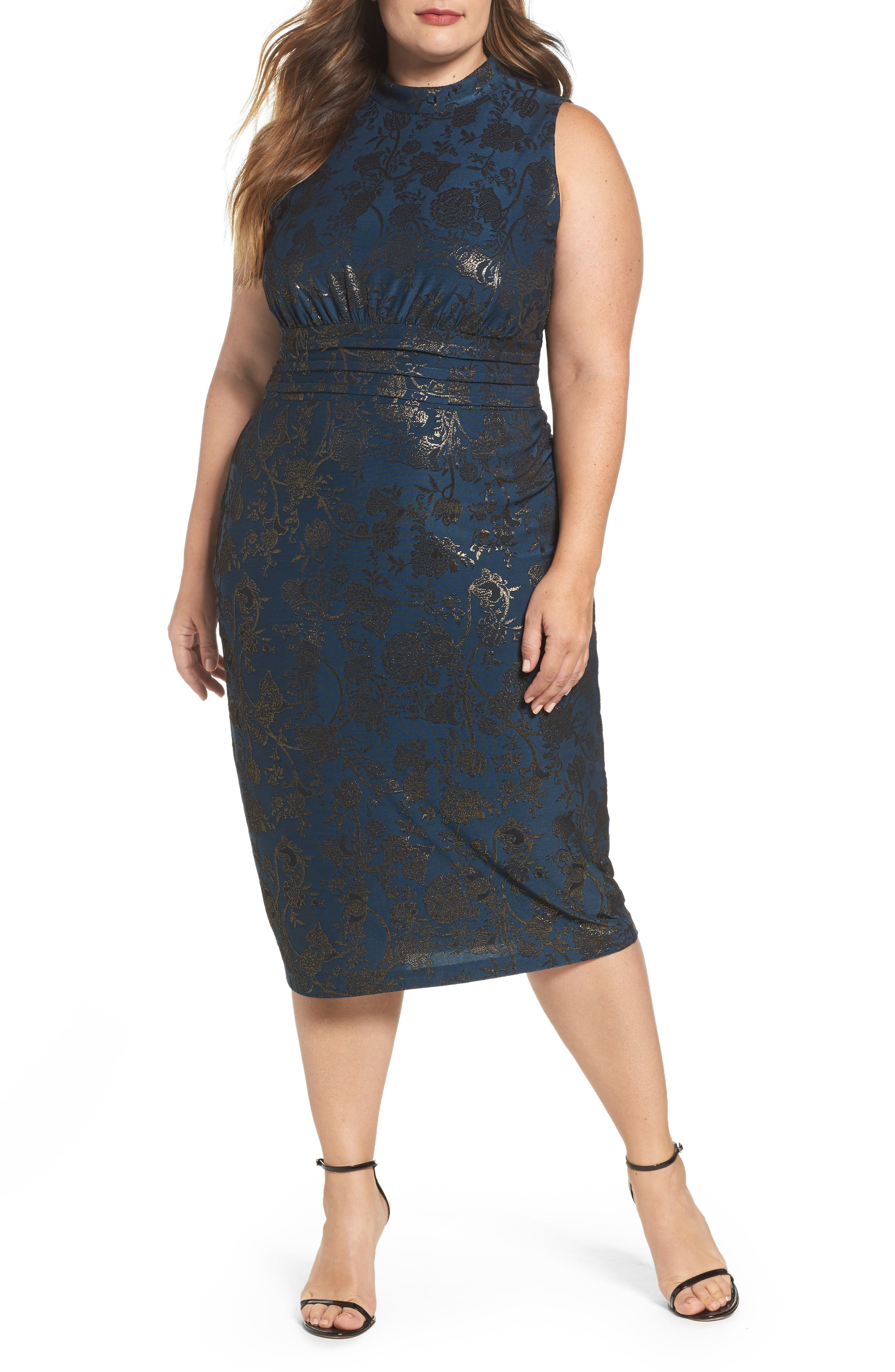 Alternate Image 1 Selected - Sangria Mock Neck Foil Print Midi Dress (Plus Size)
