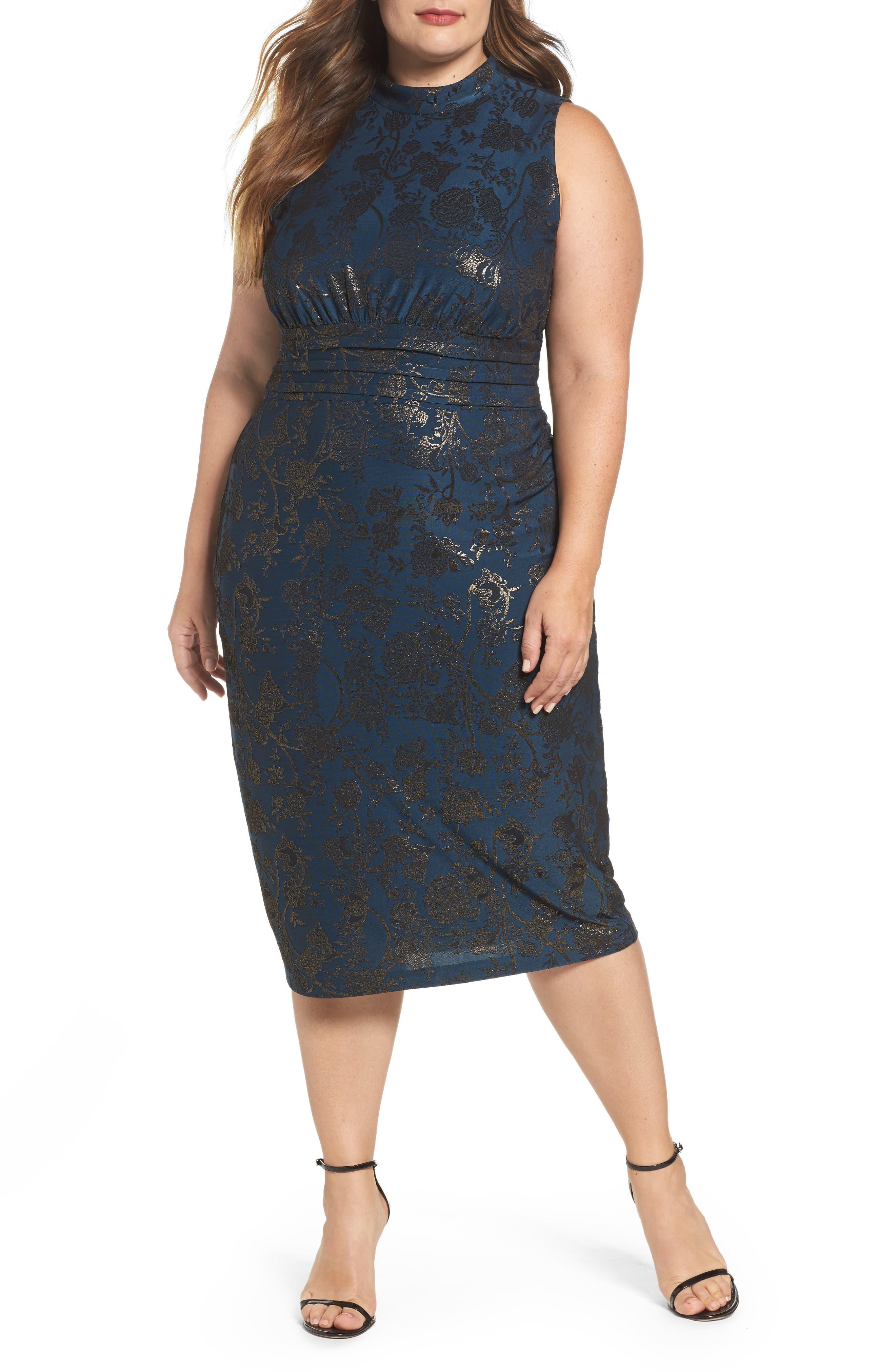 Sangria Mock Neck Foil Print Midi Dress (Plus Size)