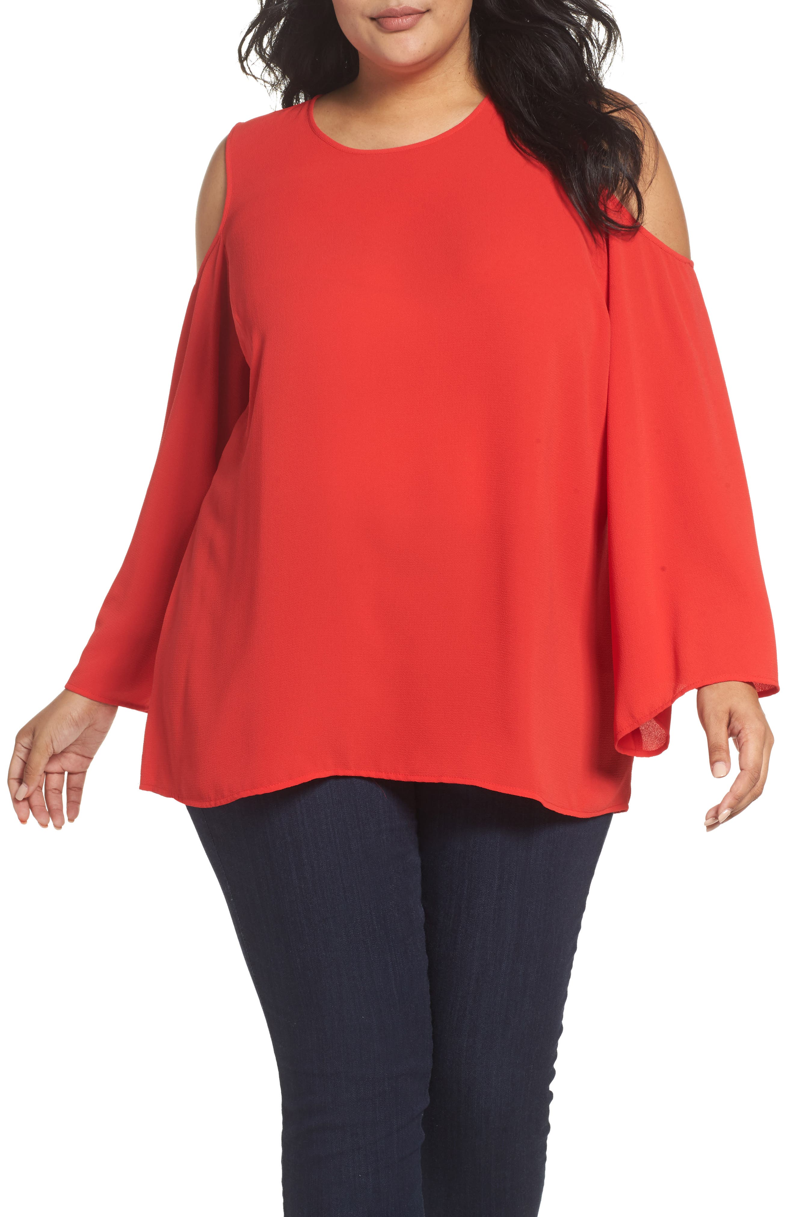 Vince Camuto Bell Sleeve Cold Shoulder Blouse (Plus Size)