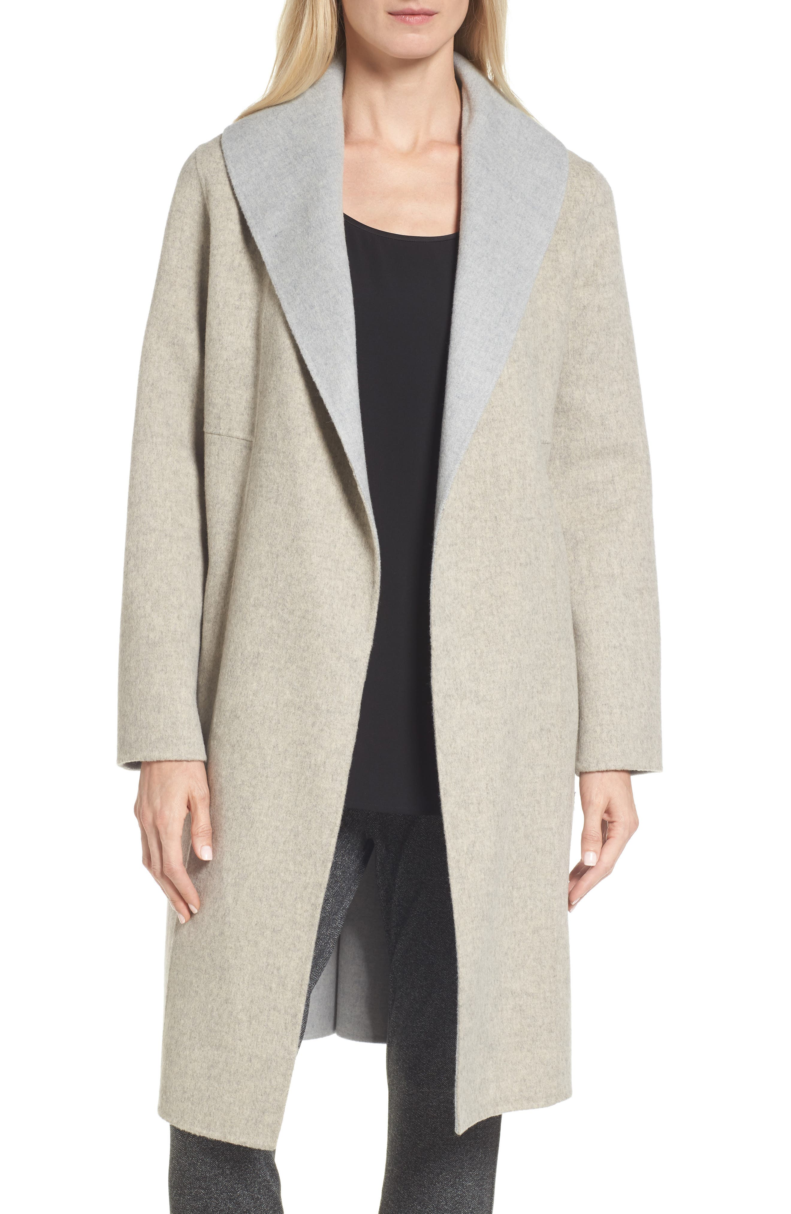 Double-Face Wool Blend Coat,                         Main,                         color, Oatmeal