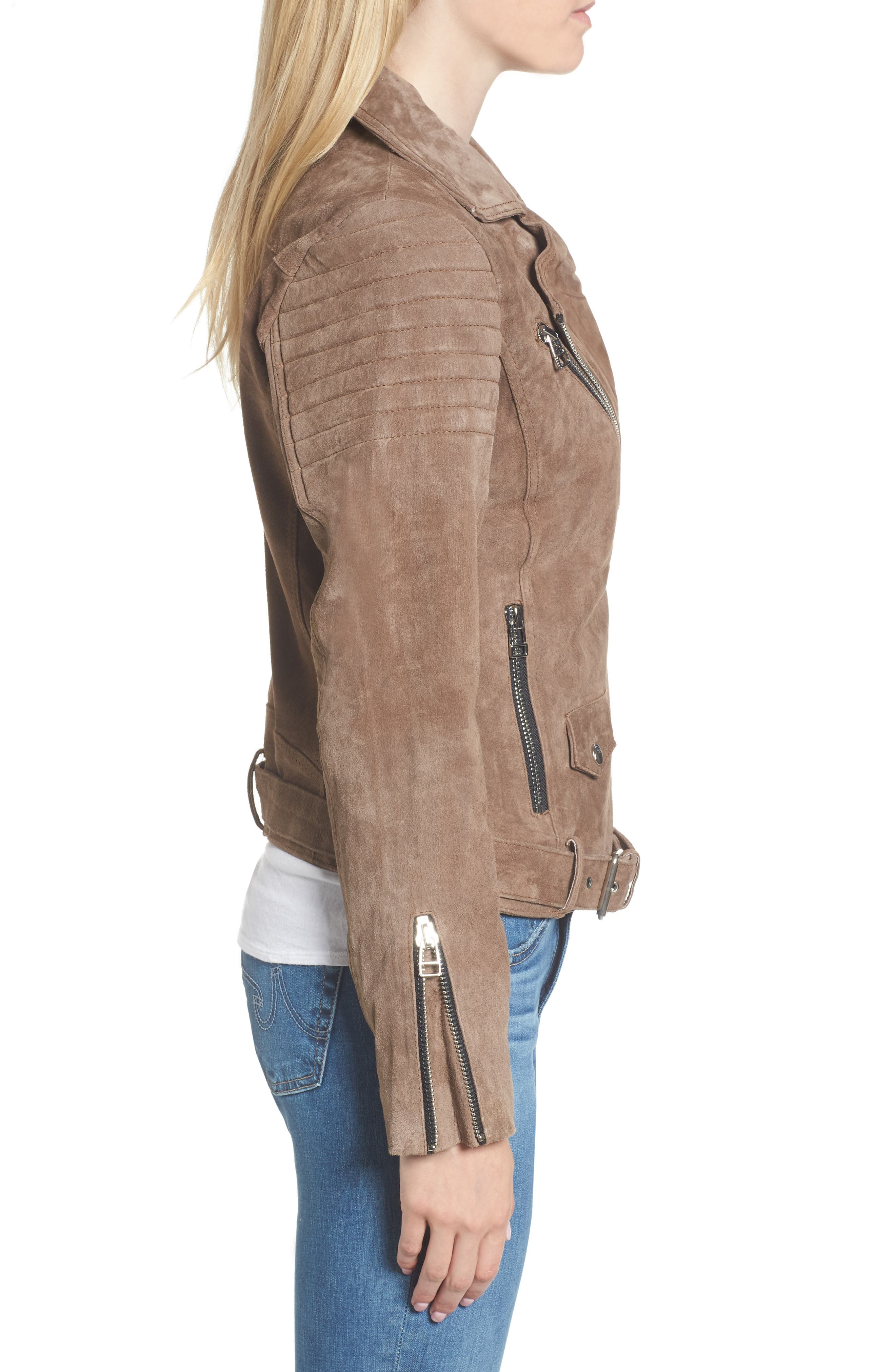 Suede Moto Jacket,                             Alternate thumbnail 3, color,                             Taupe