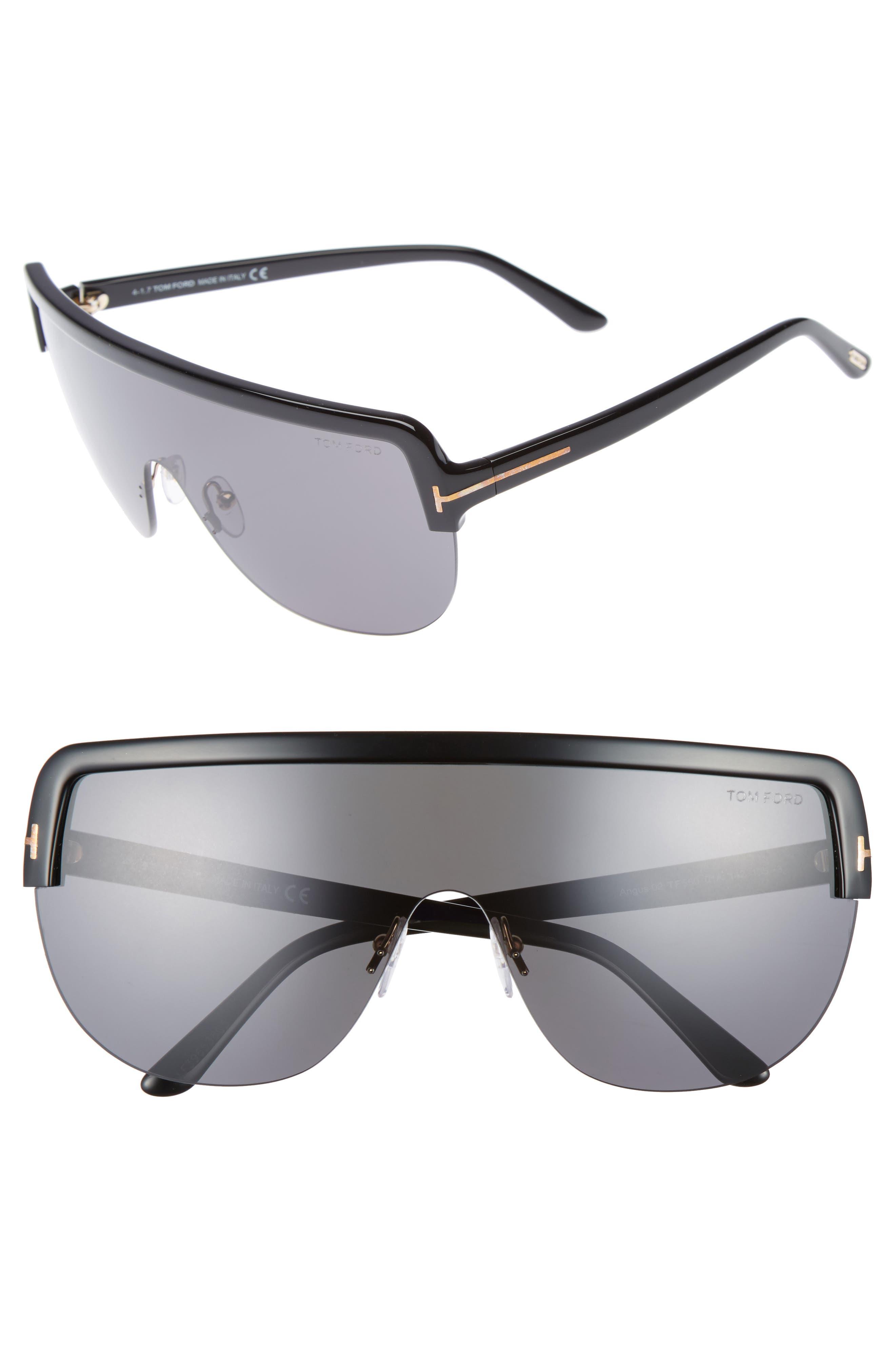 Angus Shield Sunglasses,                         Main,                         color, Shiny Black/ Smoke