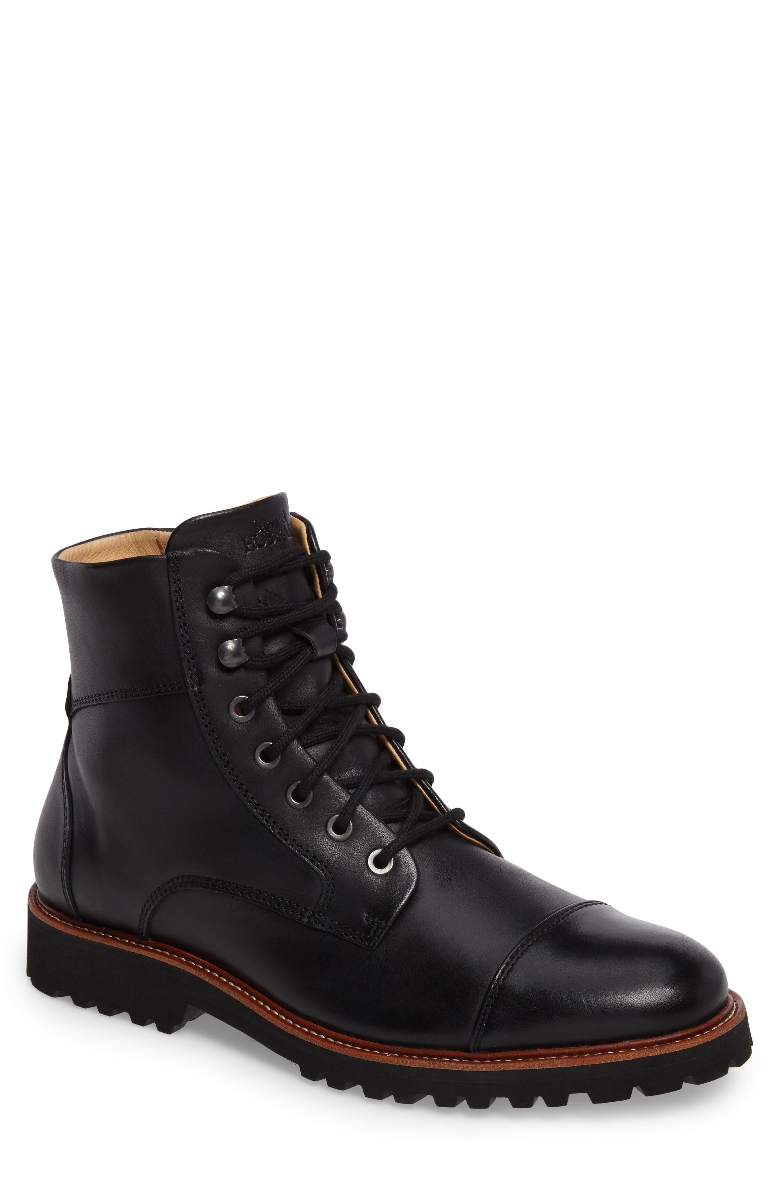 Uptown Maverick Cap Toe Boot,                             Main thumbnail 1, color,                             Black Leather