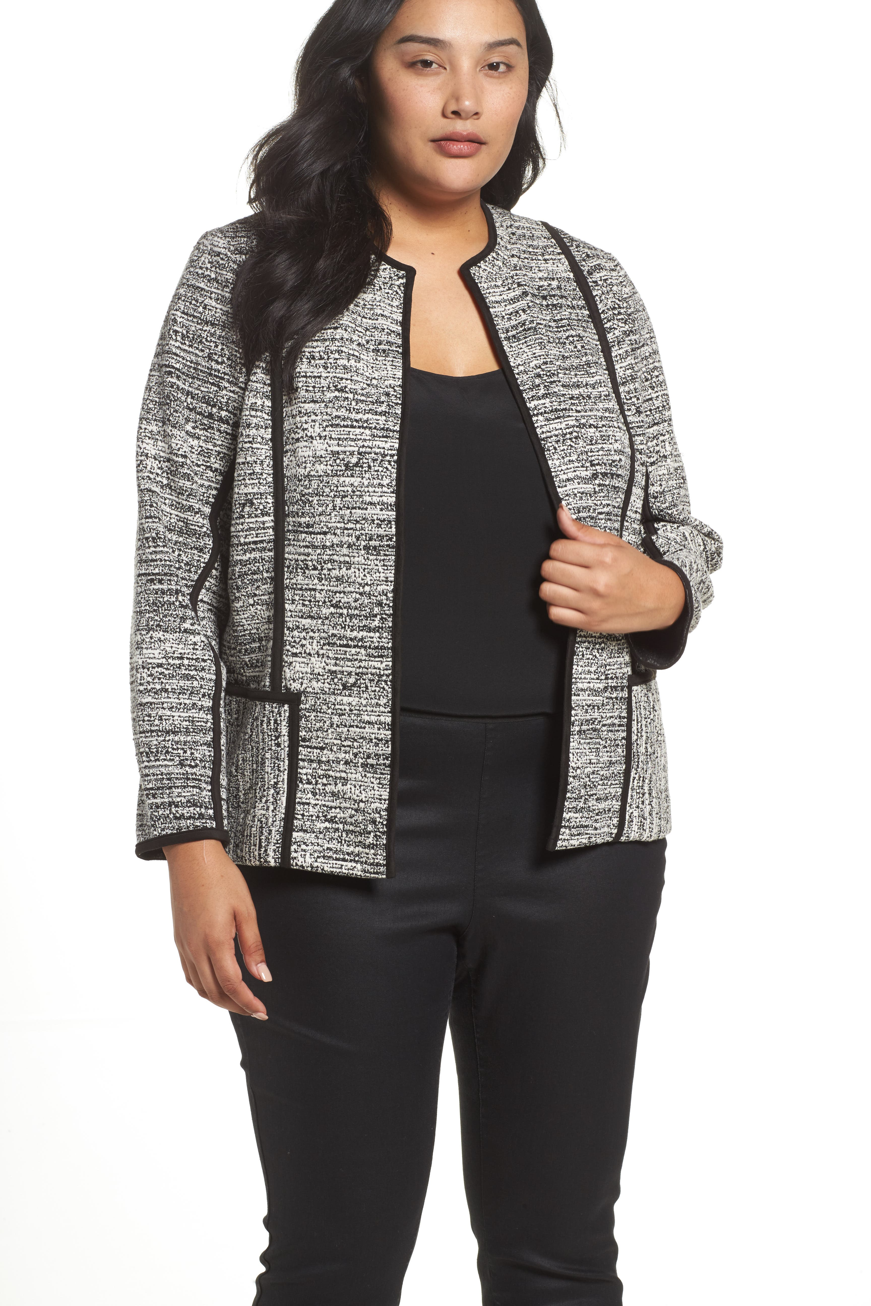 Foxcroft Devi Double Knit Collarless Jacket (Plus Size)