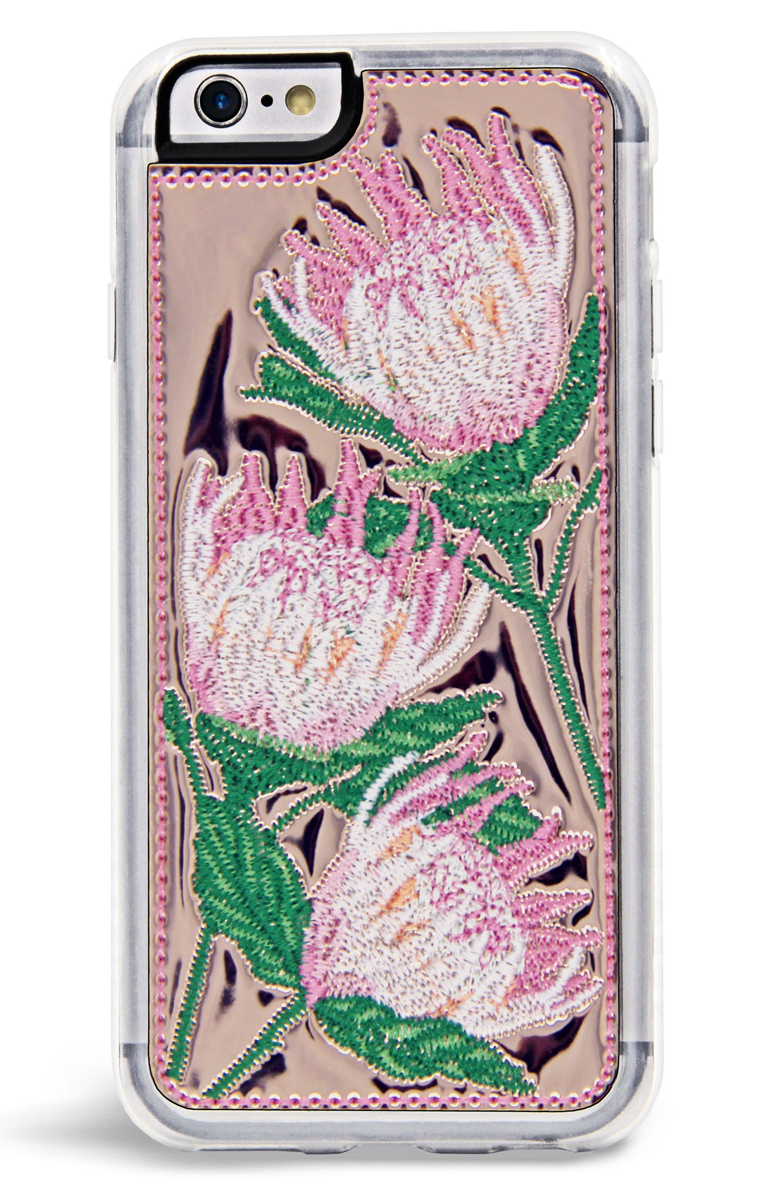 x Rocky Barnes Flora iPhone 6/6s/7/8 & 6/7/8 Plus Case,                             Main thumbnail 1, color,                             Rose Gold