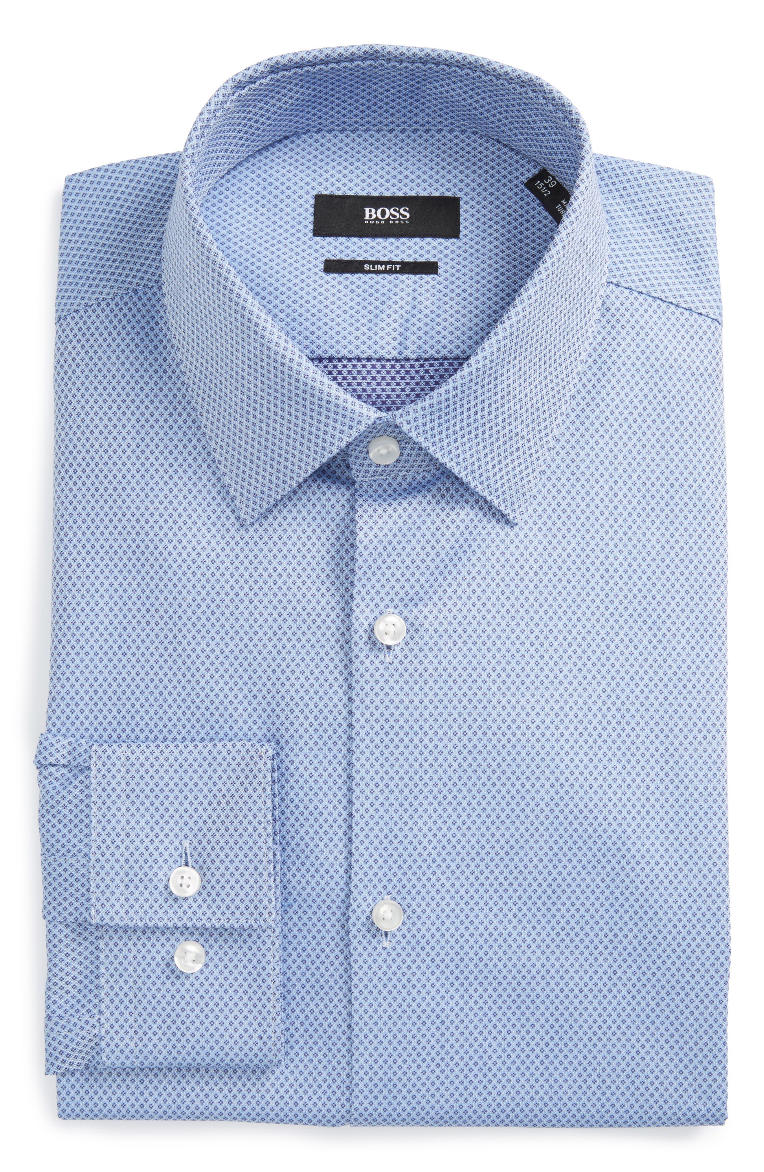 BOSS Isko Slim Fit Geometric Dress Shirt
