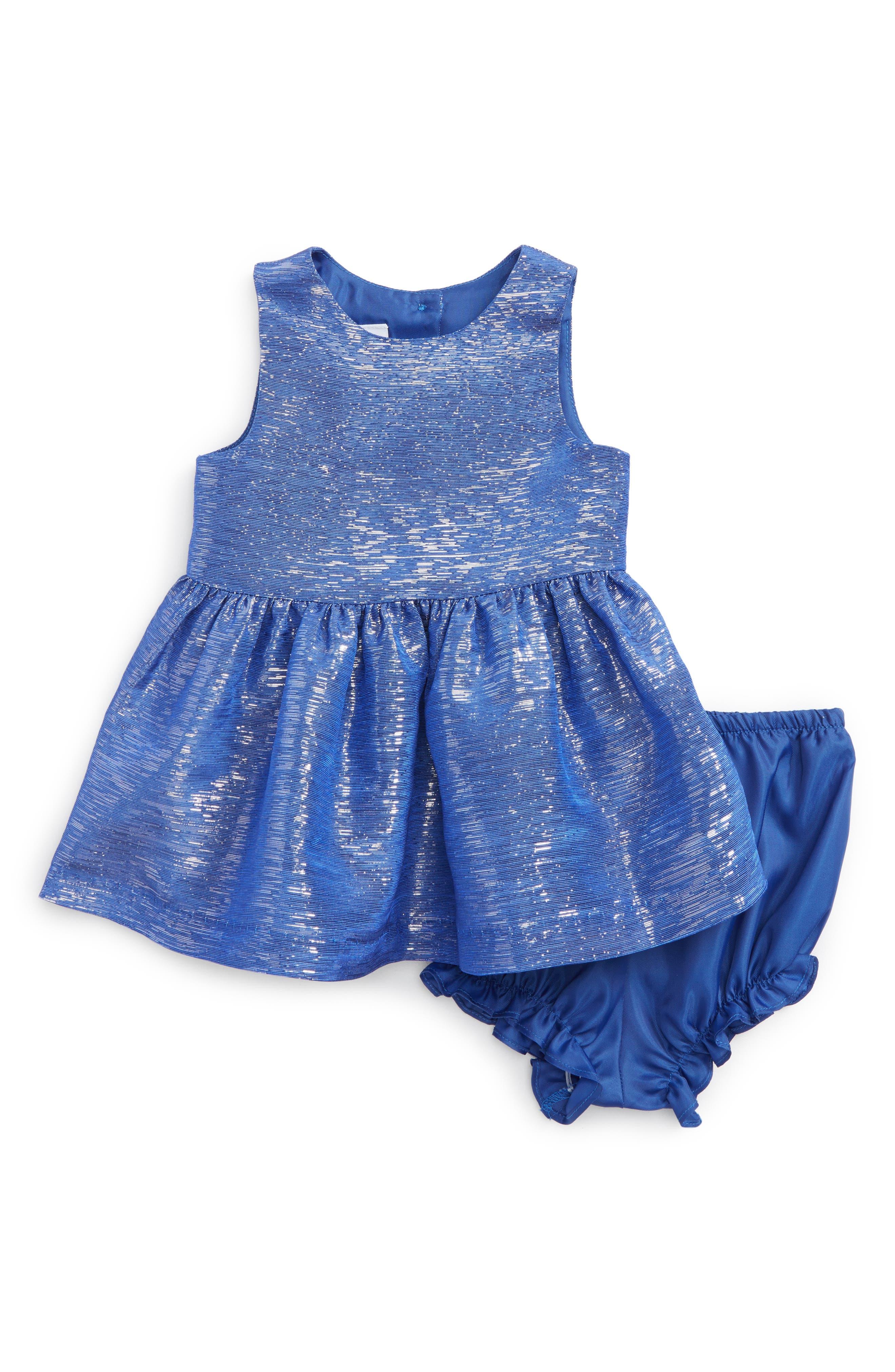 Metallic Fit & Flare Dress,                         Main,                         color, Bright Blue