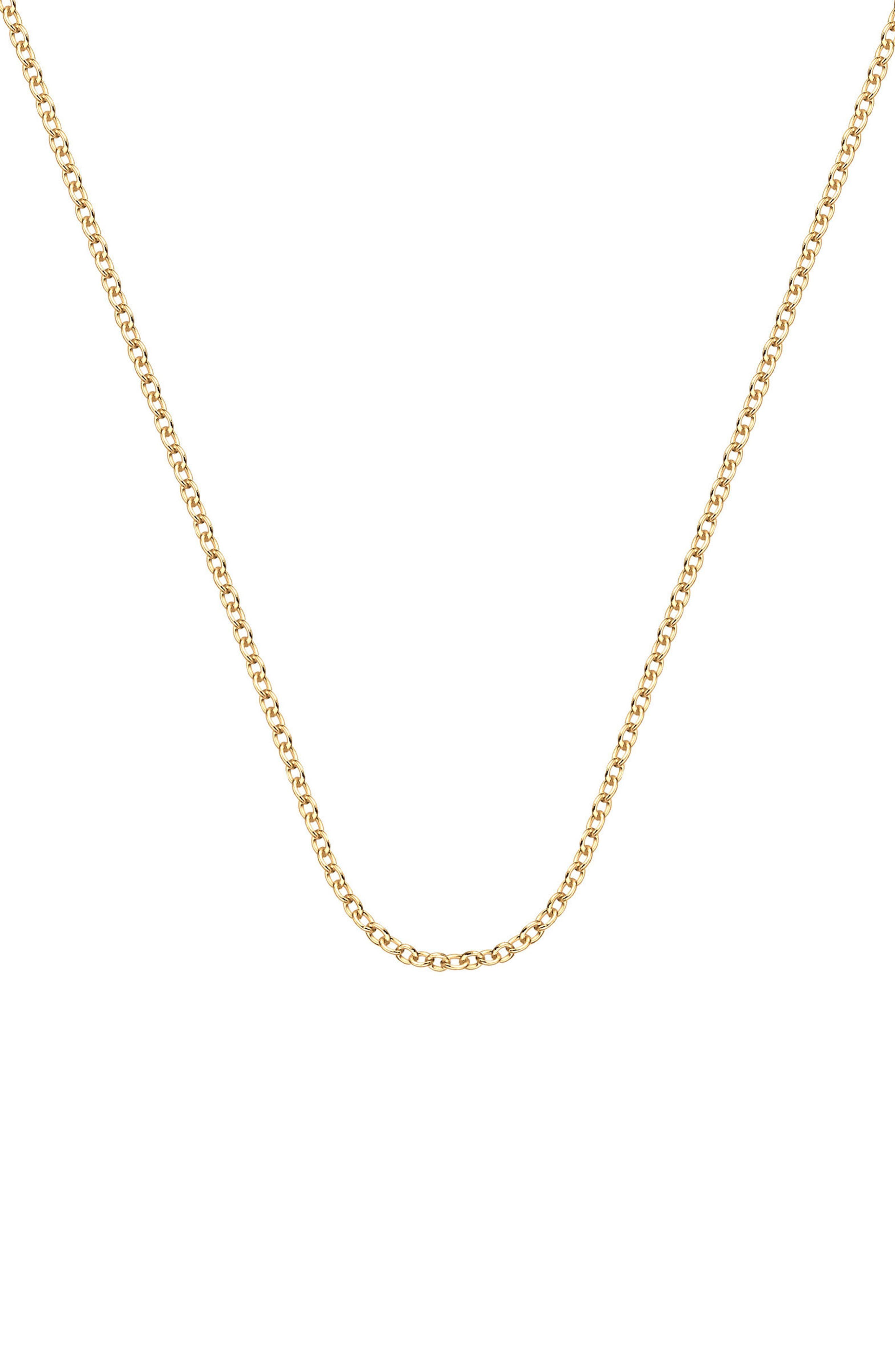 32 Inch Adjustable Rolo Chain,                             Main thumbnail 1, color,                             Yellow Gold