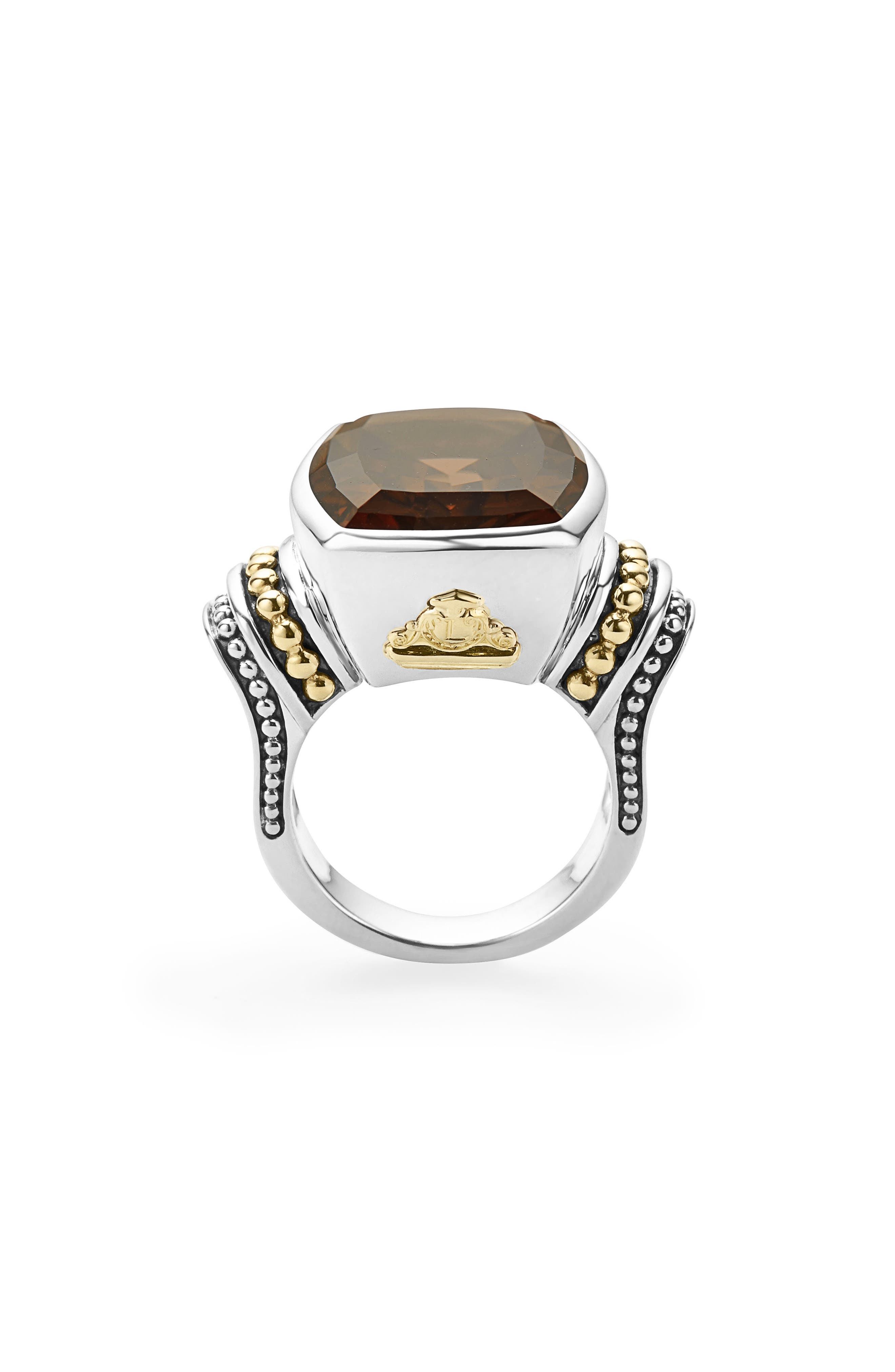 'Caviar Color' Large Semiprecious Stone Ring,                             Alternate thumbnail 3, color,                             Smokey Quartz