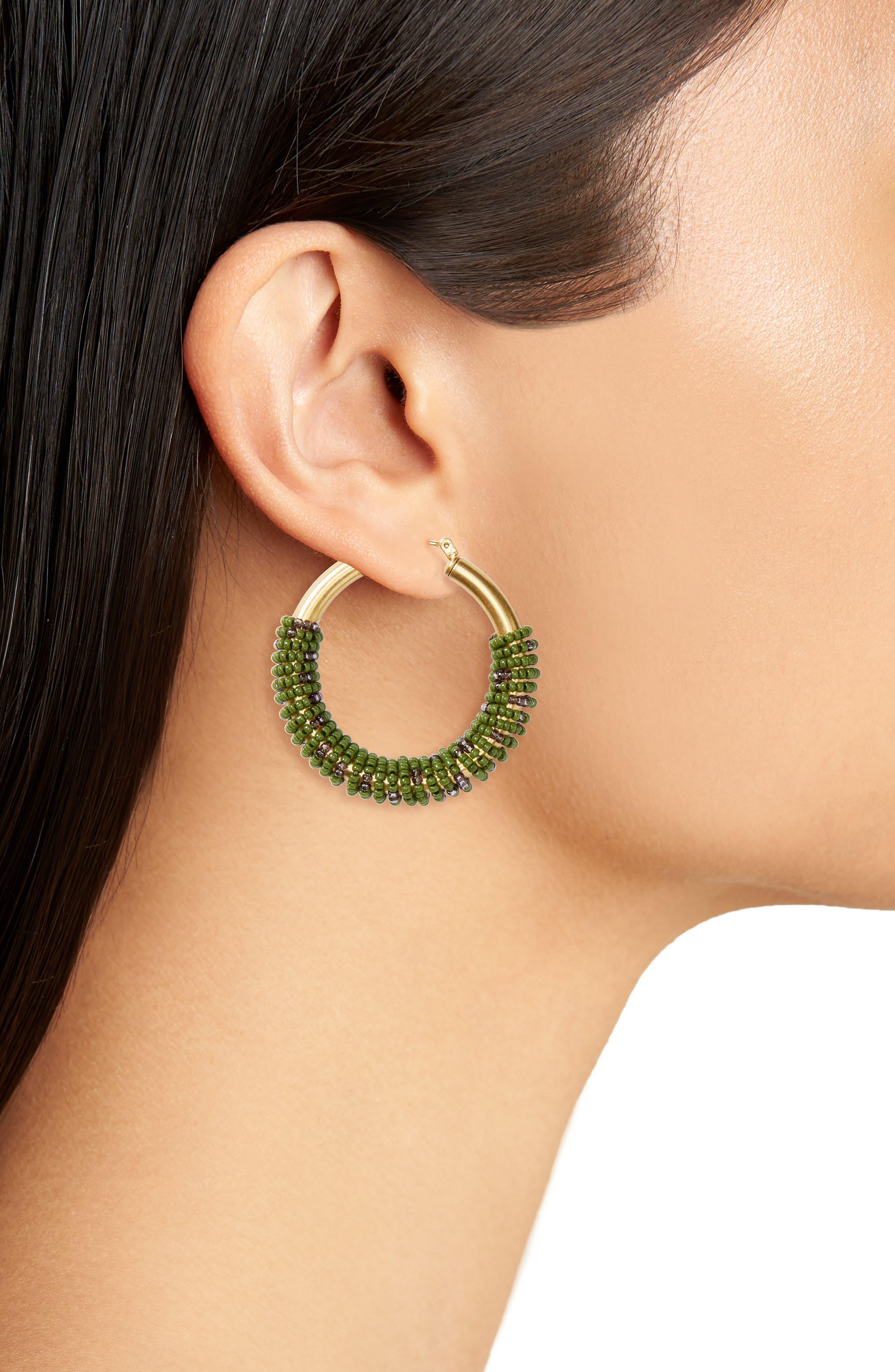 Alternate Image 2  - Madewell Bead Wrapped Hoop Earrings
