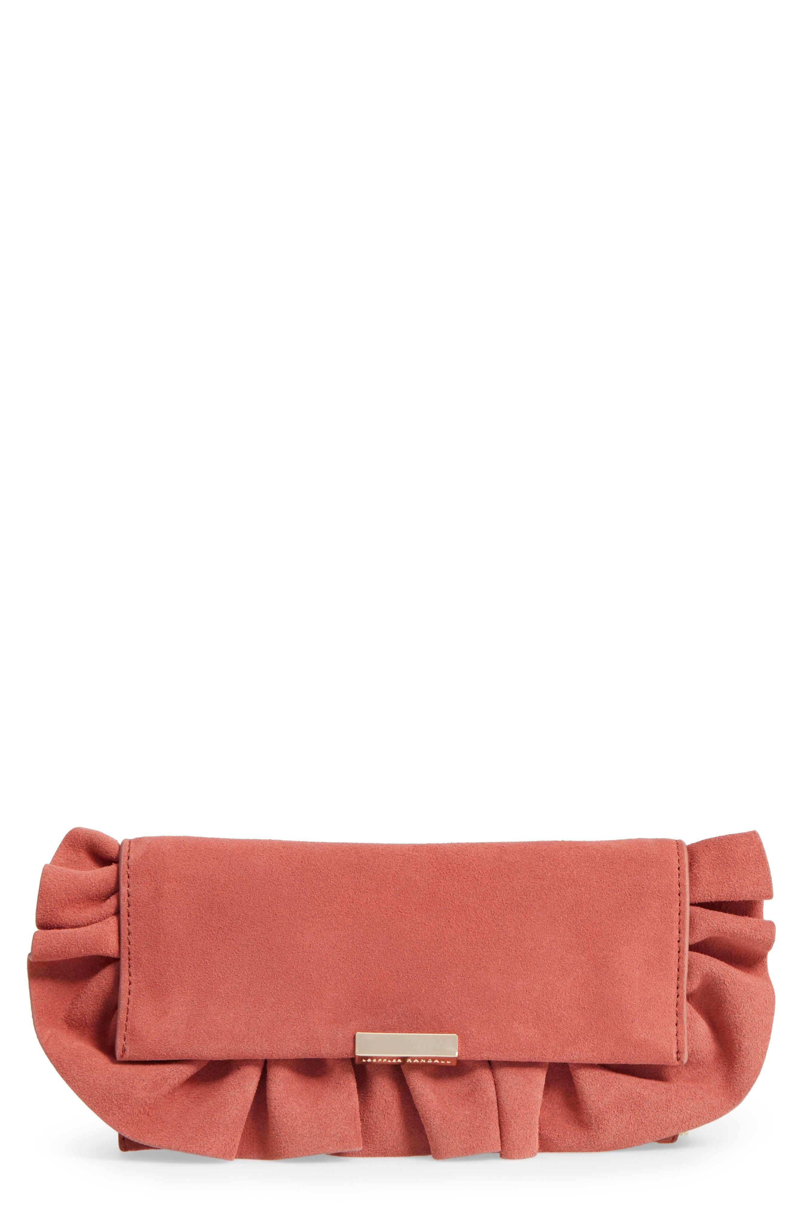 Ruffle Clutch,                         Main,                         color, Dusty Rose