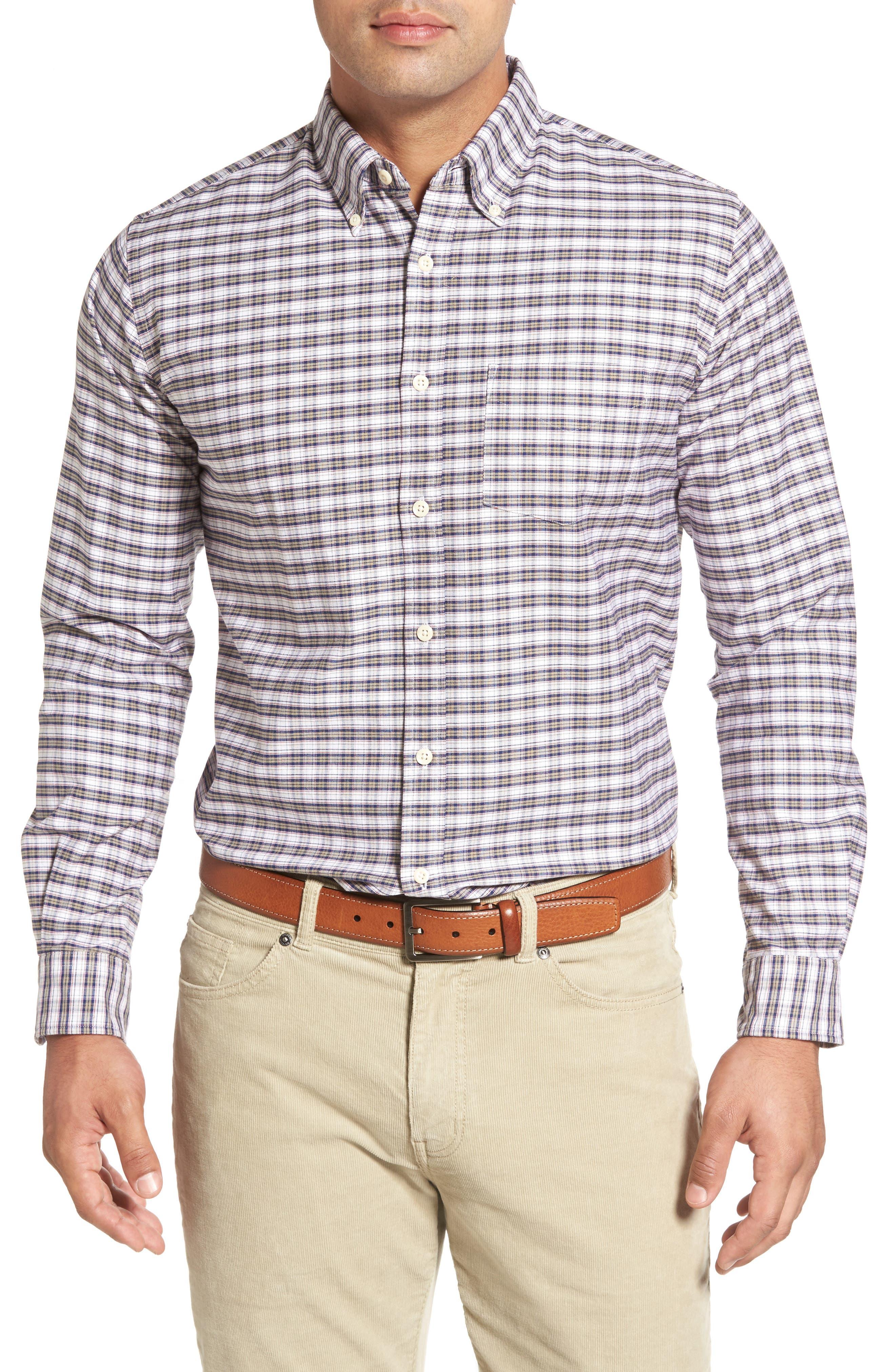 Crown Vintage Plaid Regular Fit Sport Shirt,                         Main,                         color, Patriot Navy