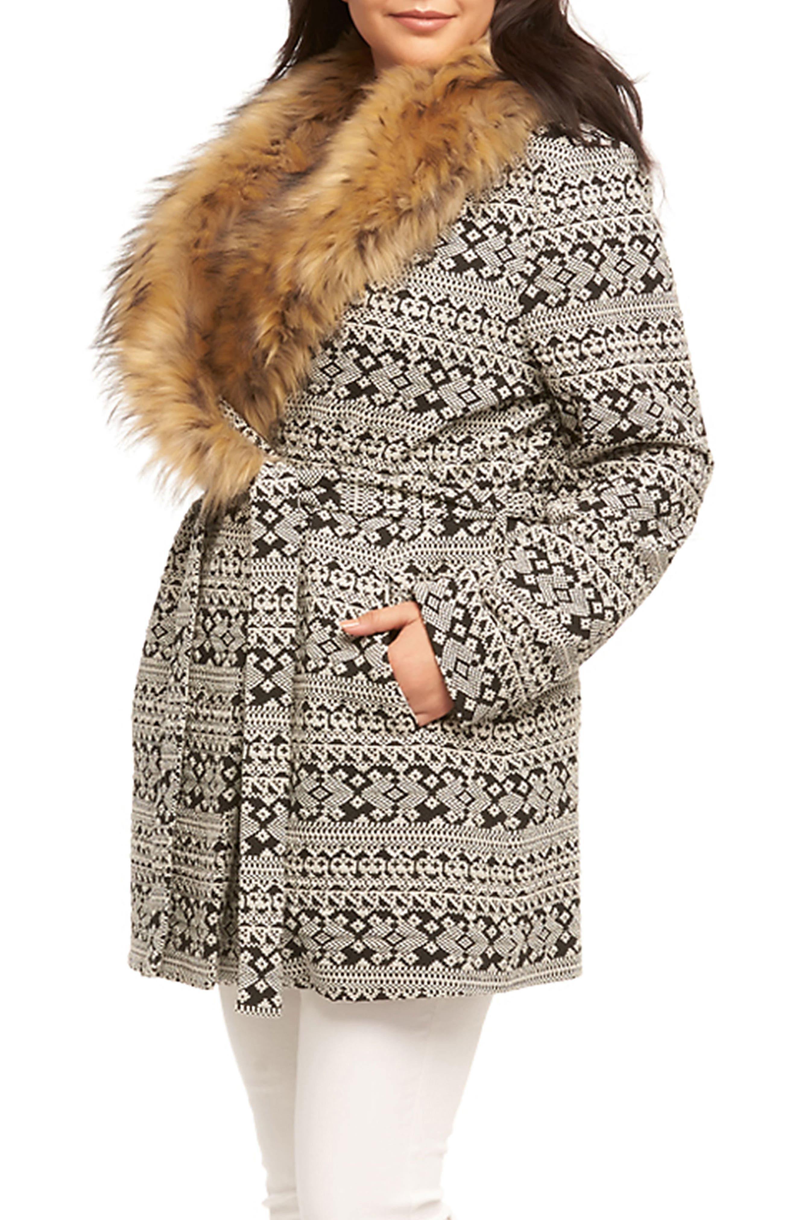 Rachelle Faux Fur Collar Coat,                             Alternate thumbnail 3, color,                             Cream/ Back Textured Diamonds