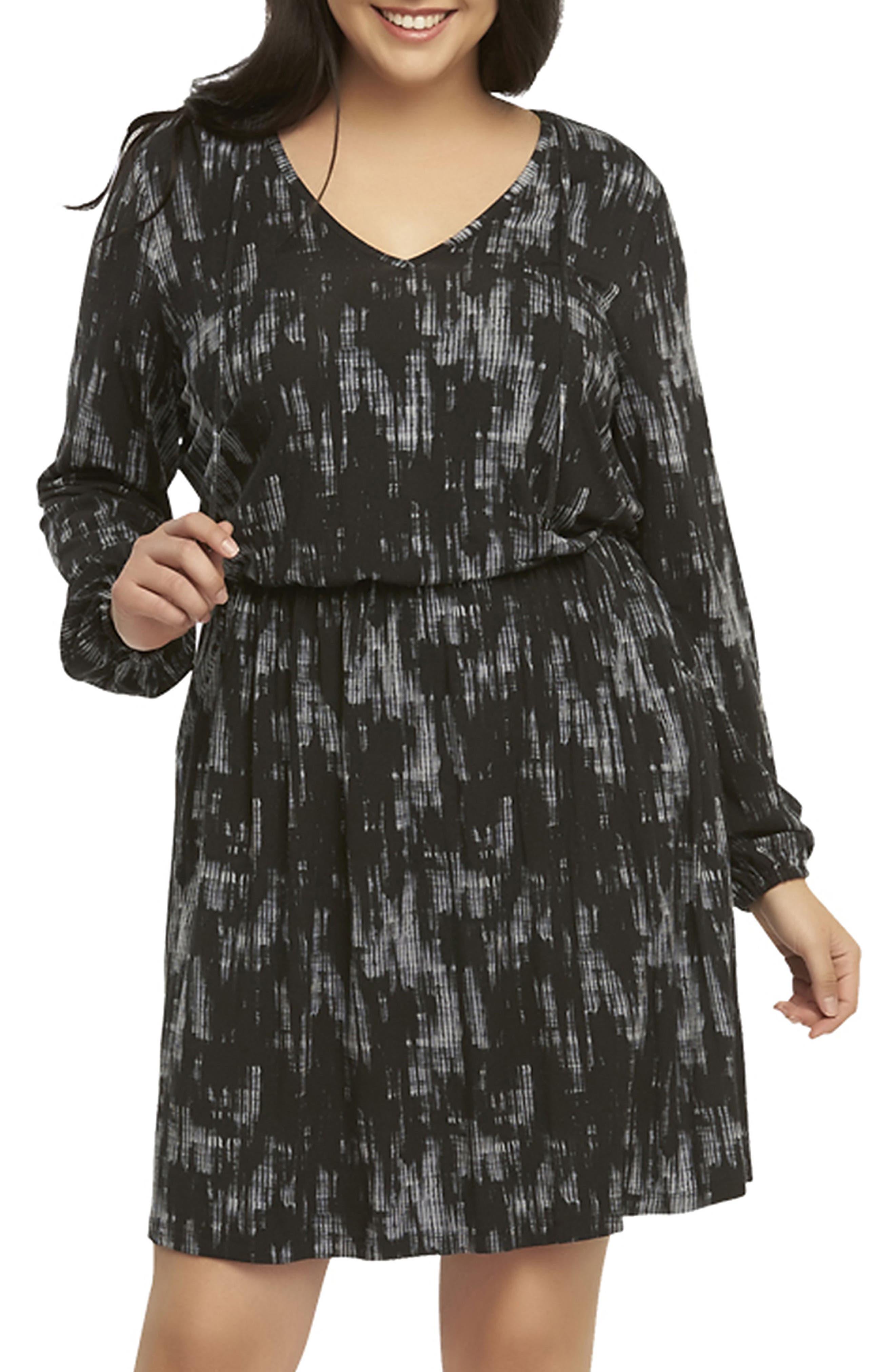 'Robby' Print Jersey V-Neck Dress,                         Main,                         color, Black Shibori Fade