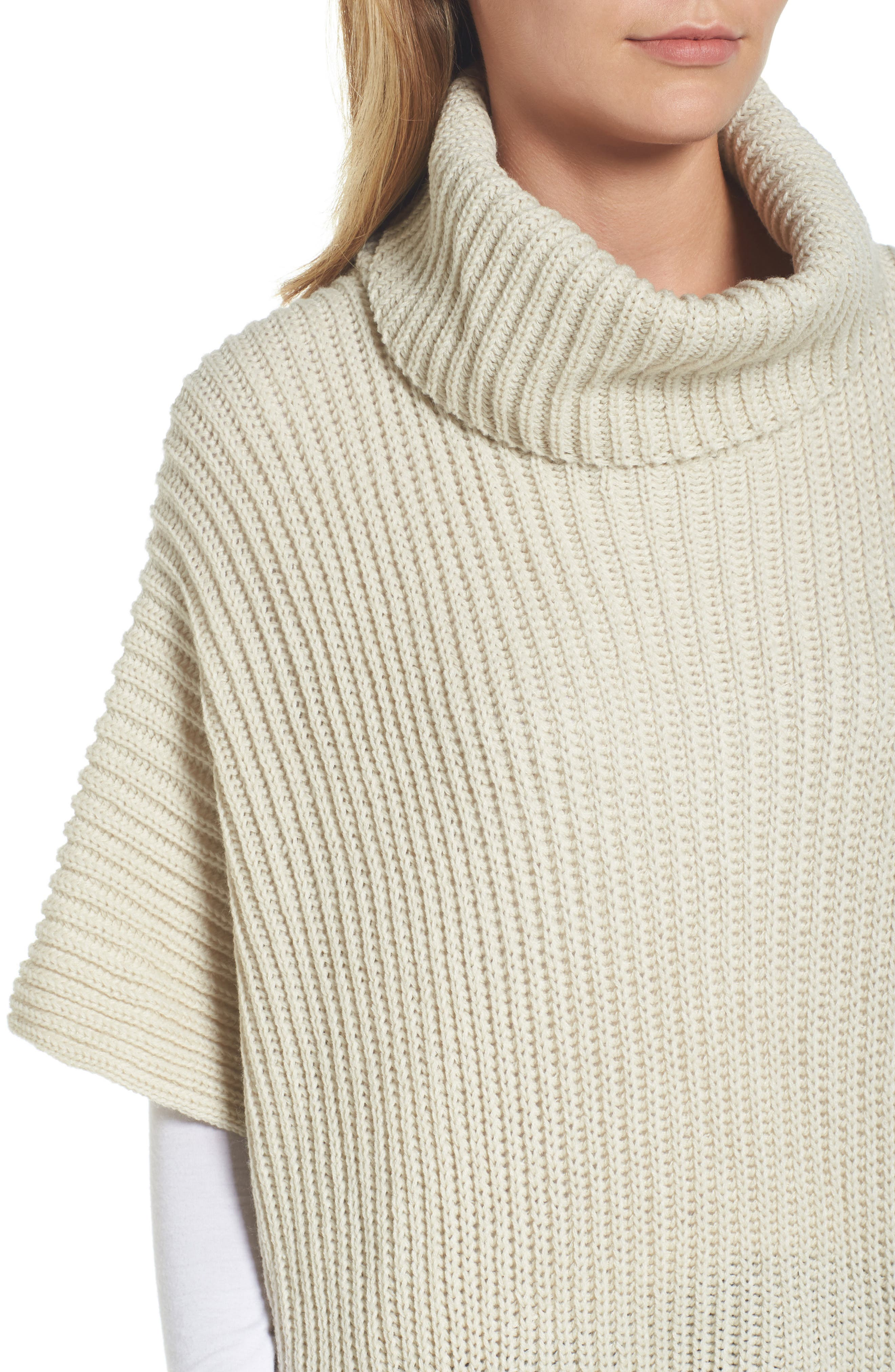 Cowl Neck Poncho,                             Alternate thumbnail 4, color,                             Ivory