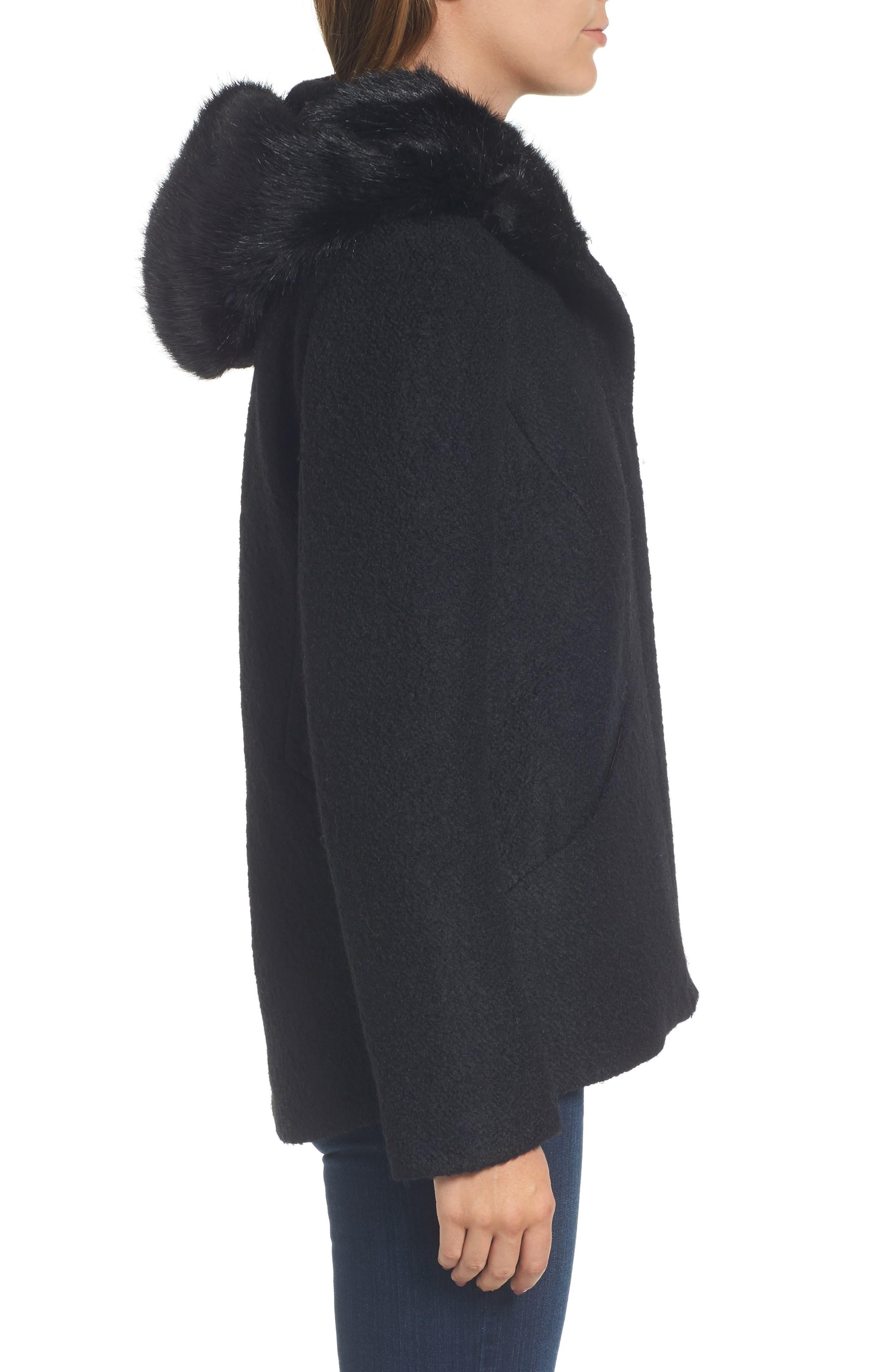 Hooded Wool Blend Bouclé Jacket with Faux Fur Trim,                             Alternate thumbnail 3, color,                             Black