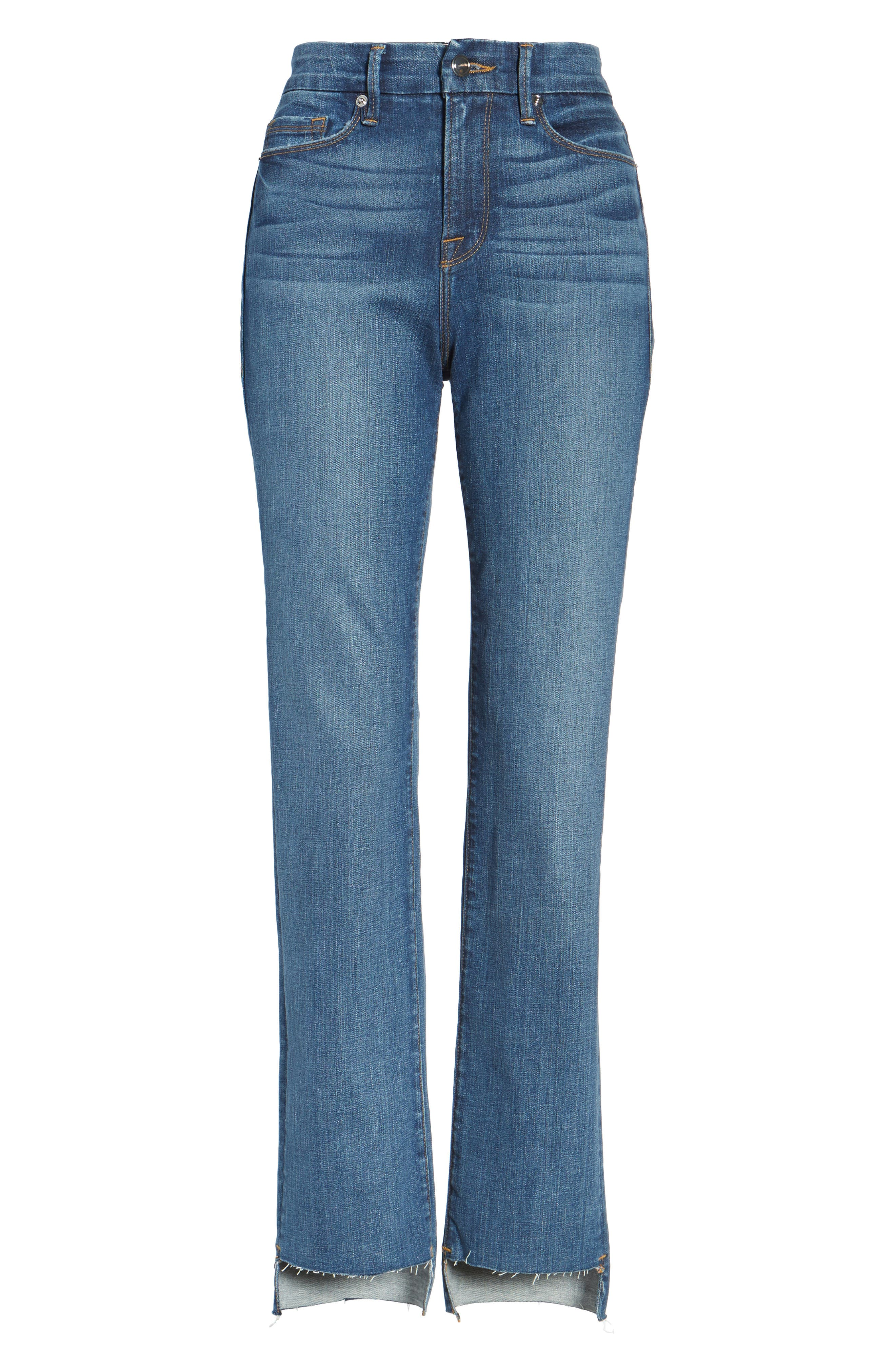 Alternate Image 7  - Good American Good Straight Raw Hem High Waist Straight Leg Jeans (Blue 086) (Extended Sizes)