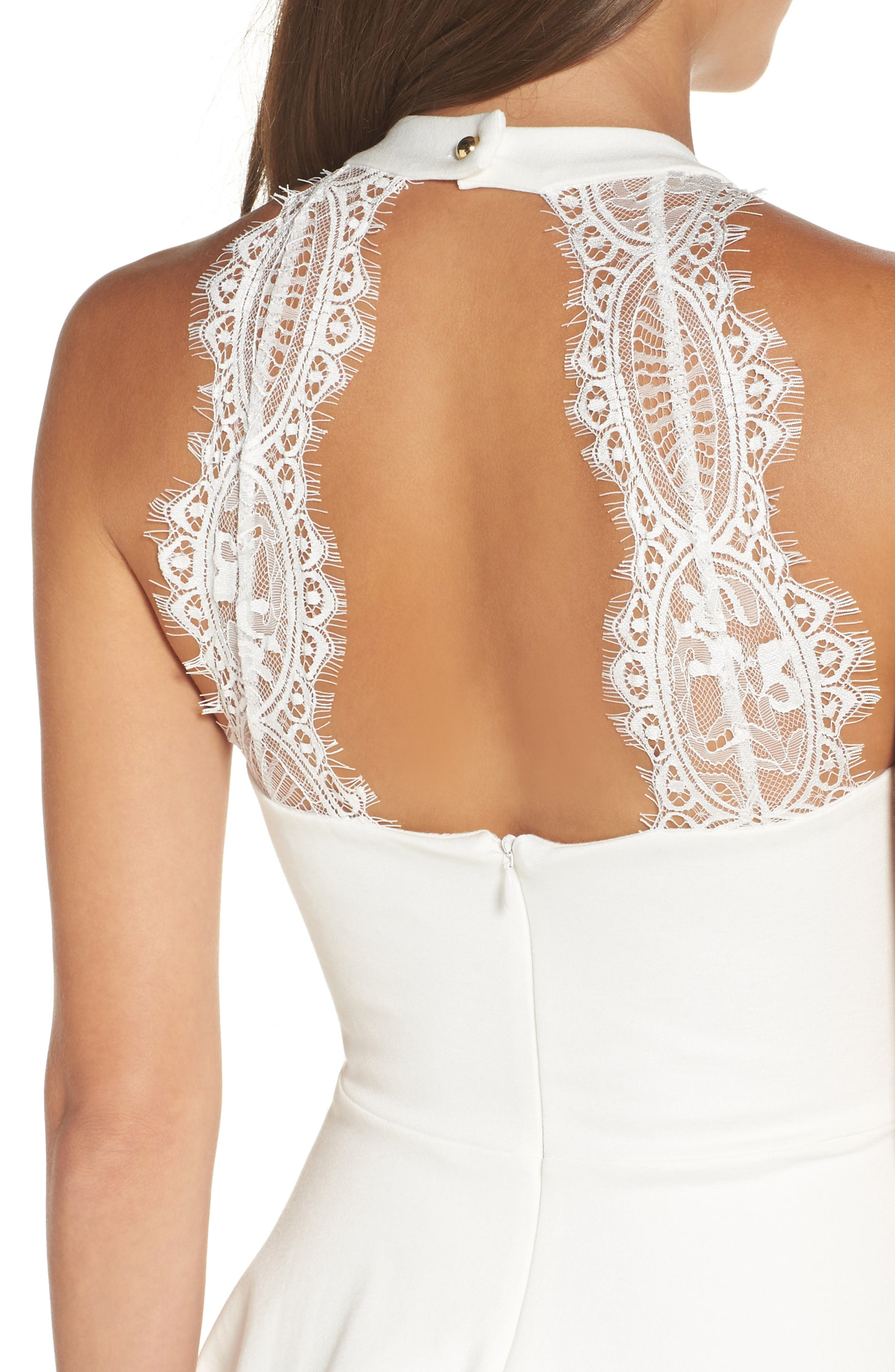 Endlessly Alluring Lace Trim Fit & Flare Dress,                             Alternate thumbnail 4, color,                             White