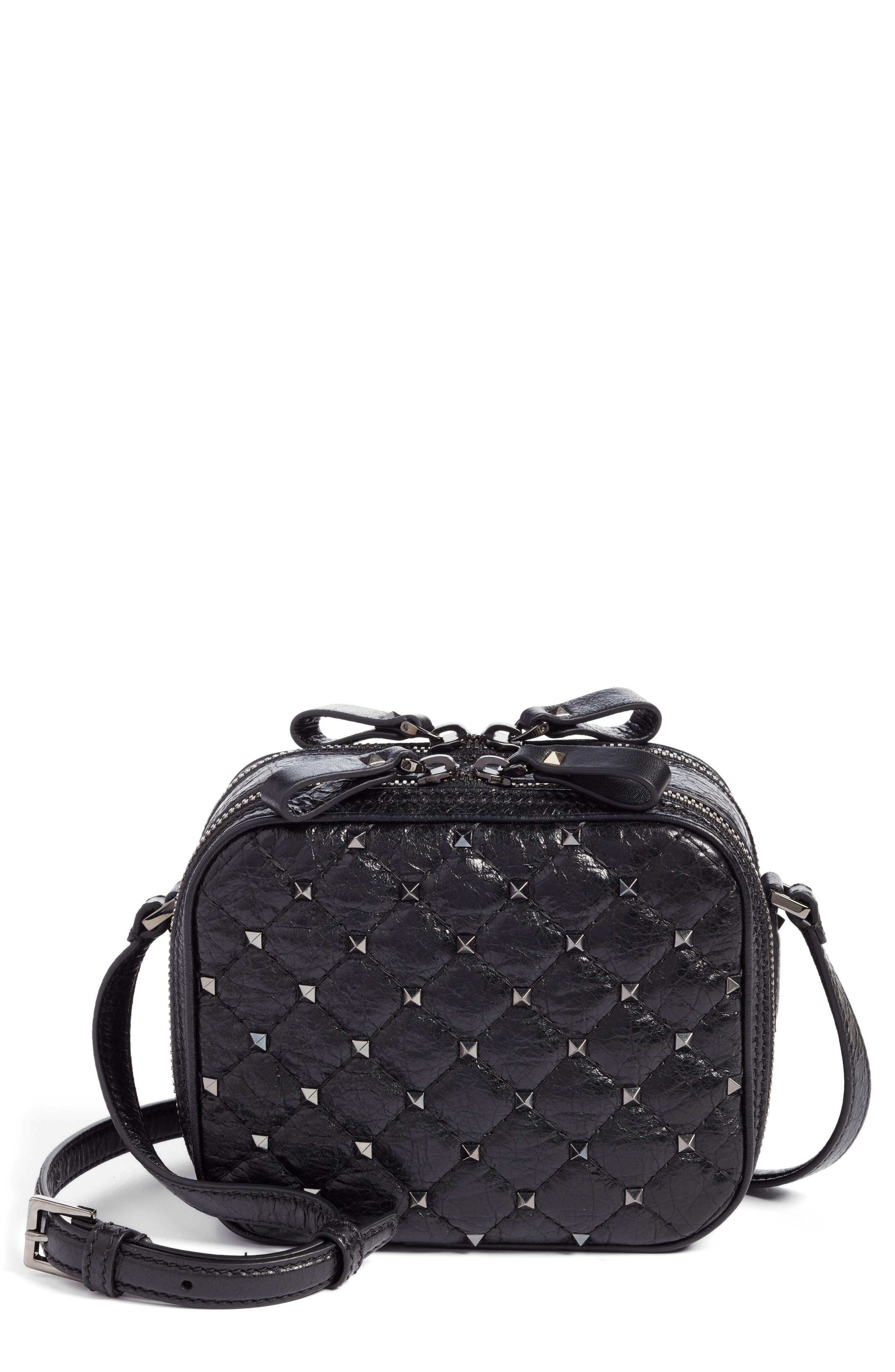 Rockstud Leather Camera Crossbody Bag,                         Main,                         color, Nero