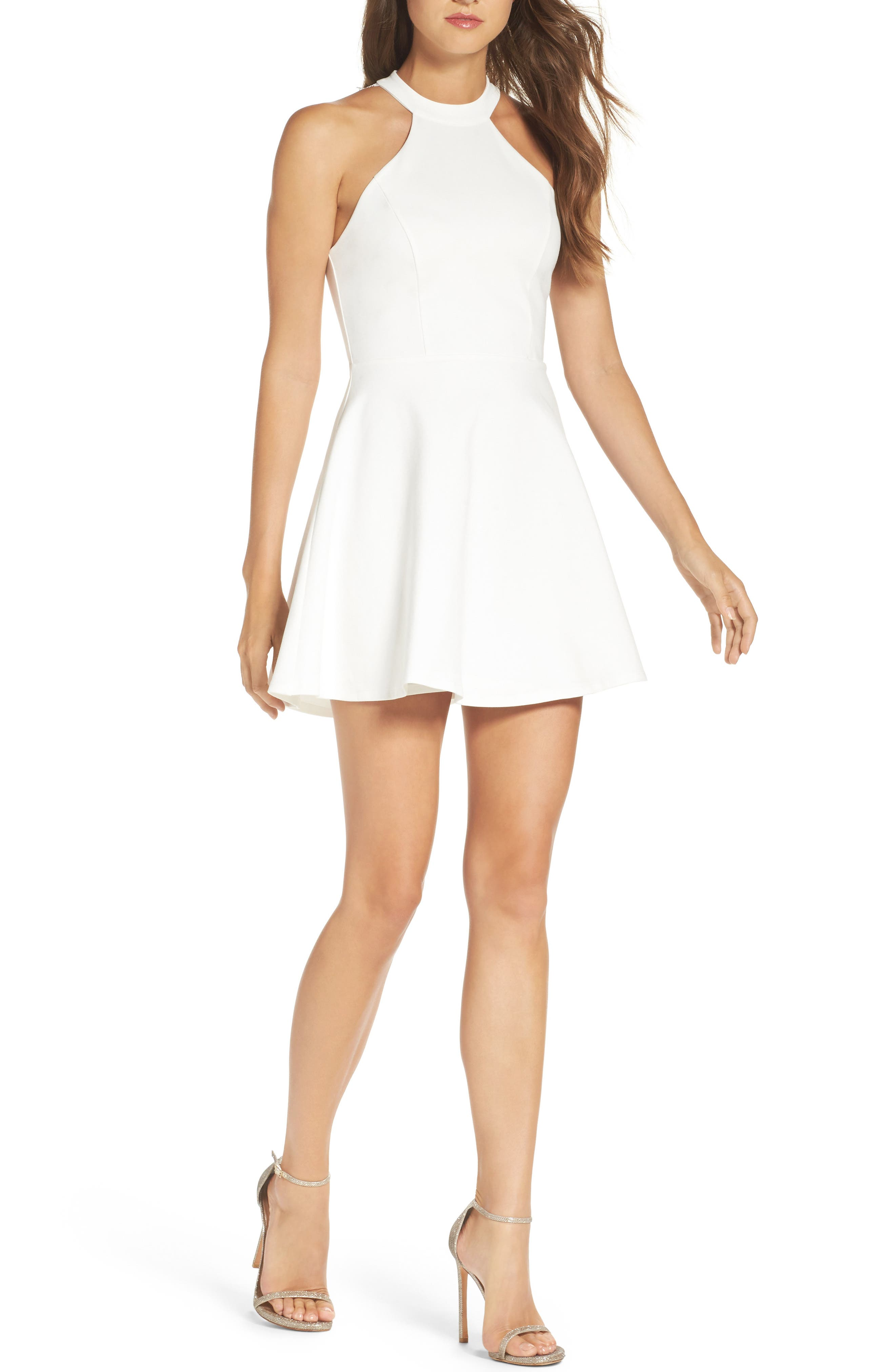 Endlessly Alluring Lace Trim Fit & Flare Dress,                             Main thumbnail 1, color,                             White