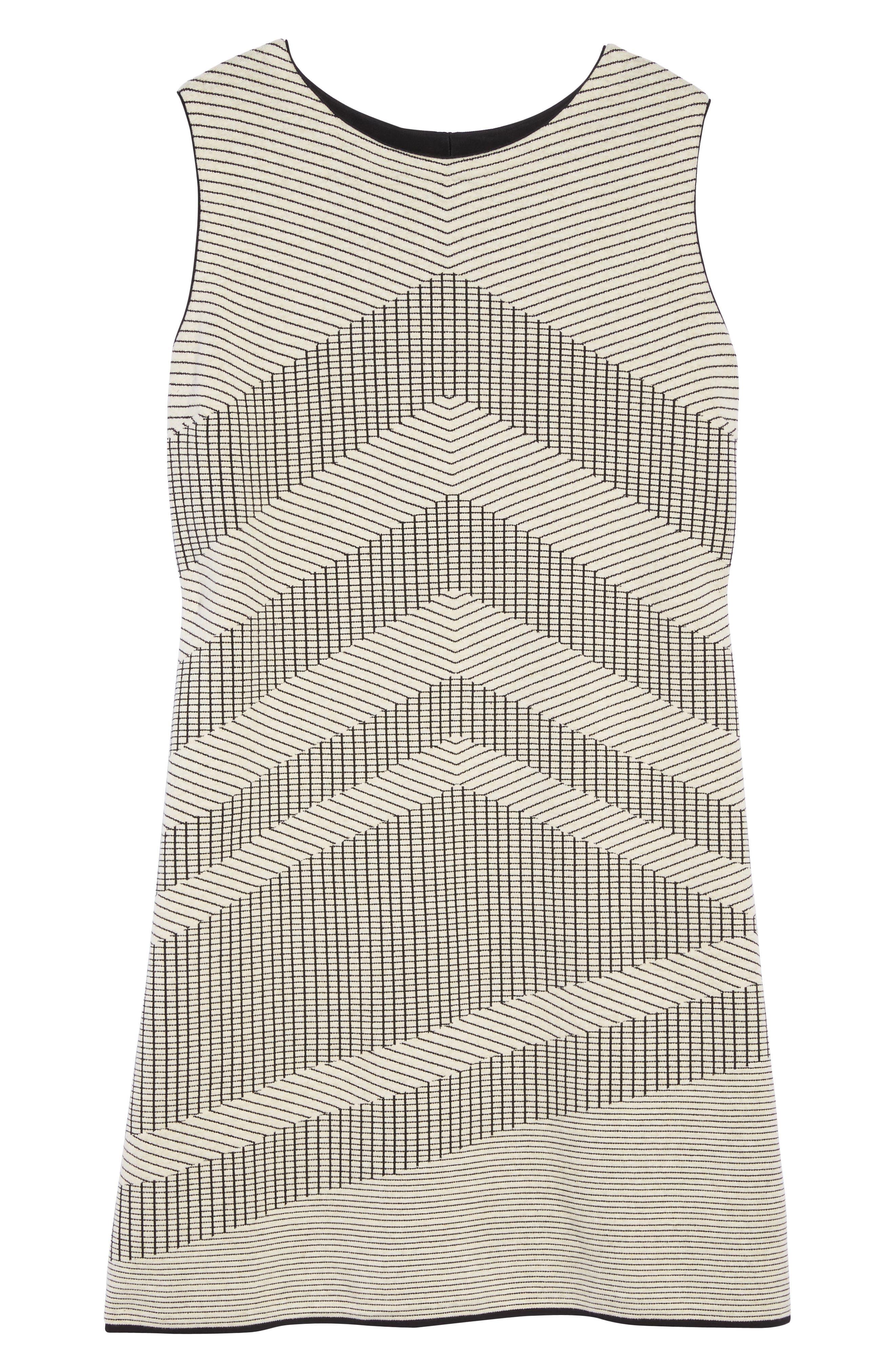 Mantra Chevron Stripe Knit Sheath Dress,                             Alternate thumbnail 6, color,                             Creme Brulee