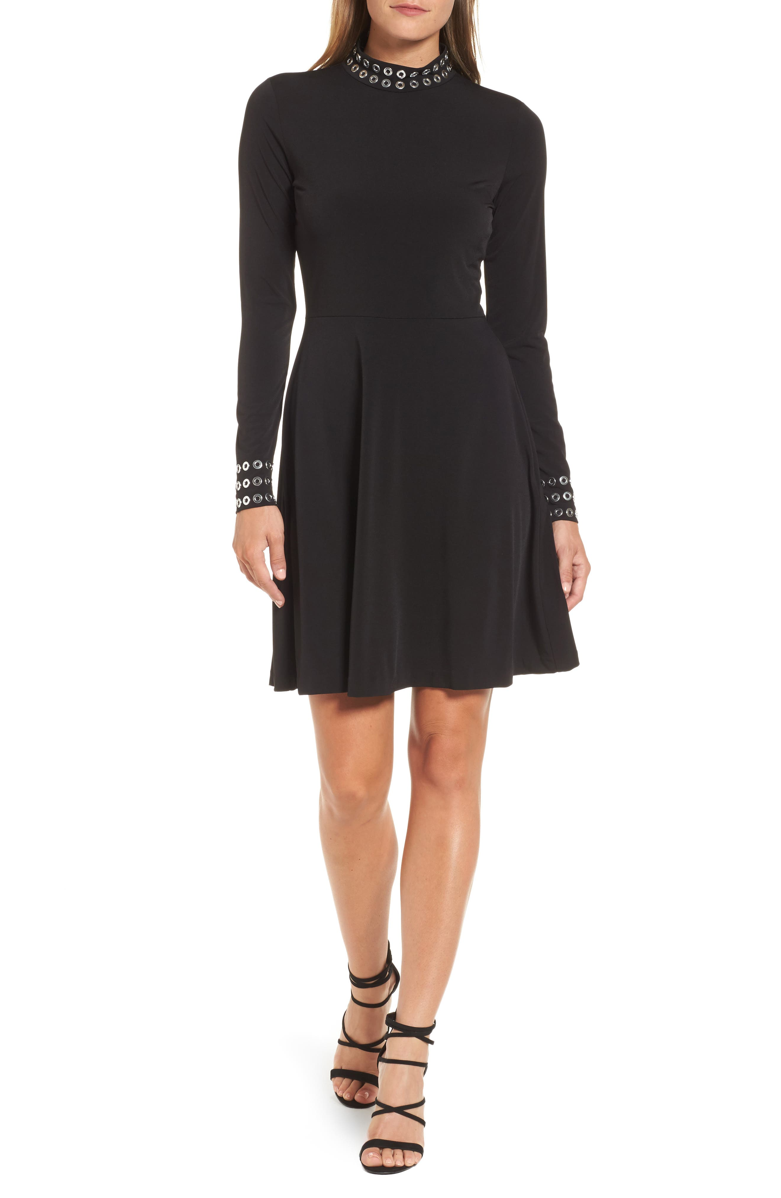 Grommet Mock Neck Knit Dress,                             Main thumbnail 1, color,                             Black