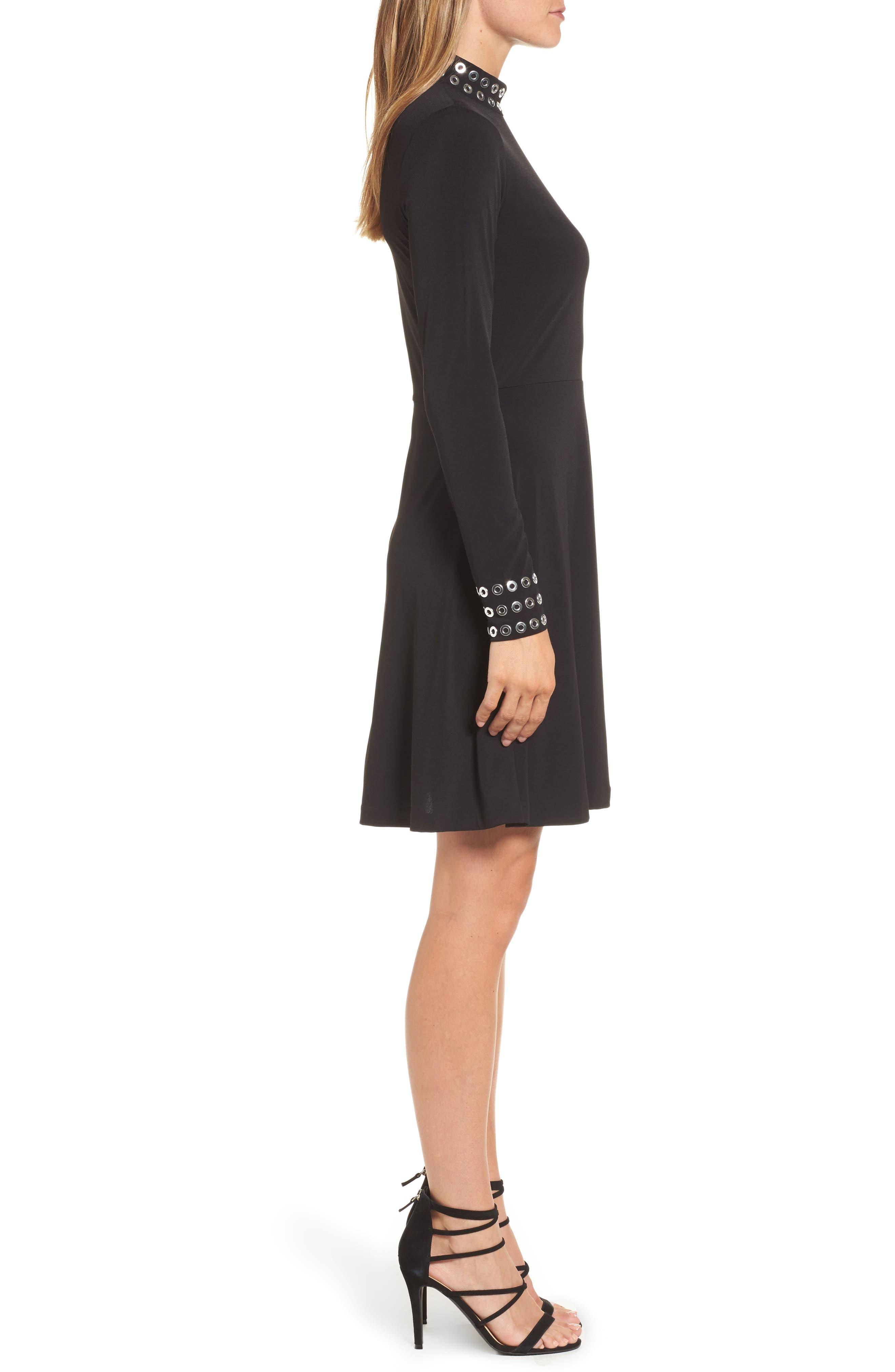 Grommet Mock Neck Knit Dress,                             Alternate thumbnail 3, color,                             Black
