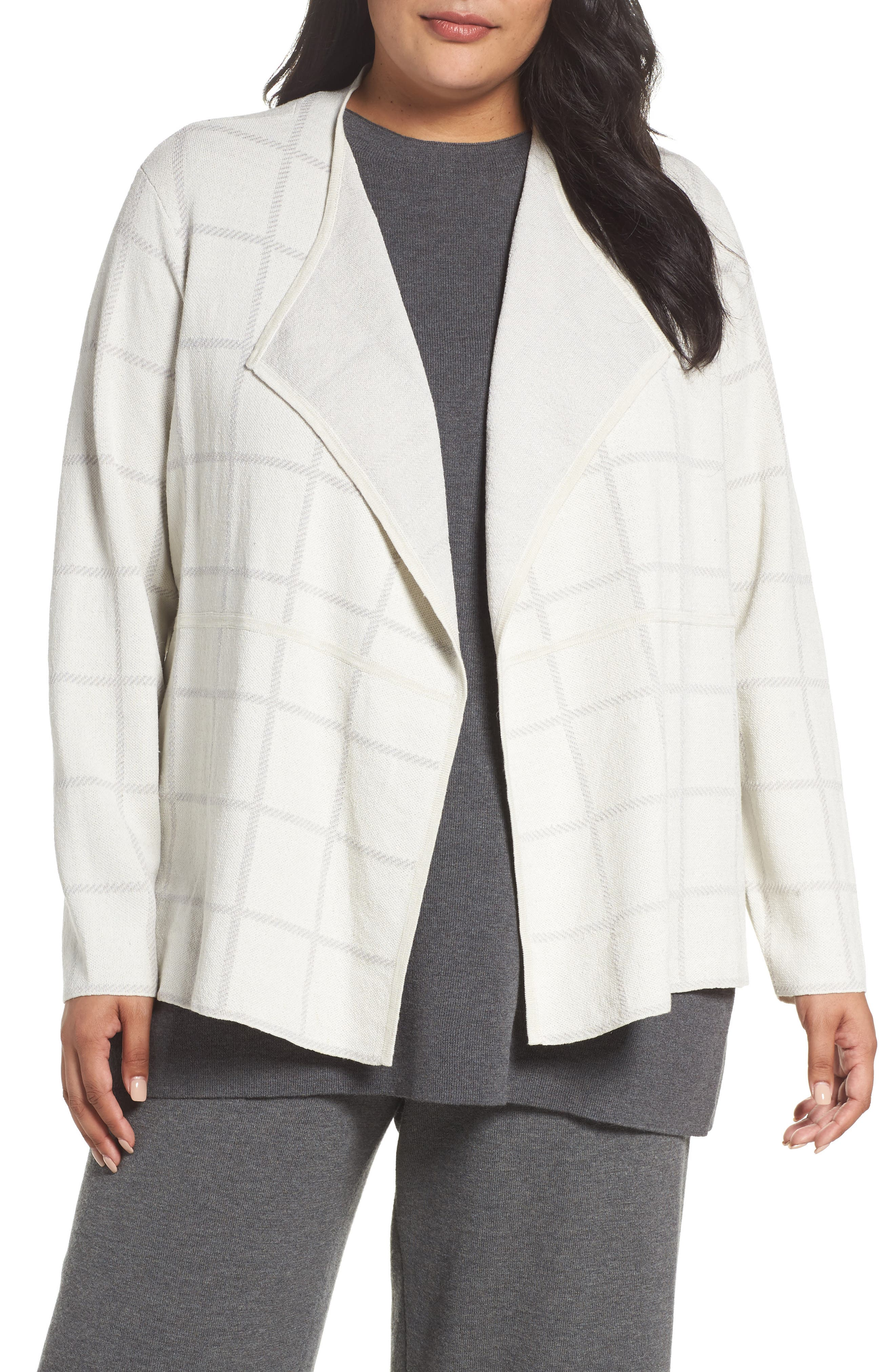 Alternate Image 1 Selected - Eileen Fisher Angle Front Cardigan (Plus Size)
