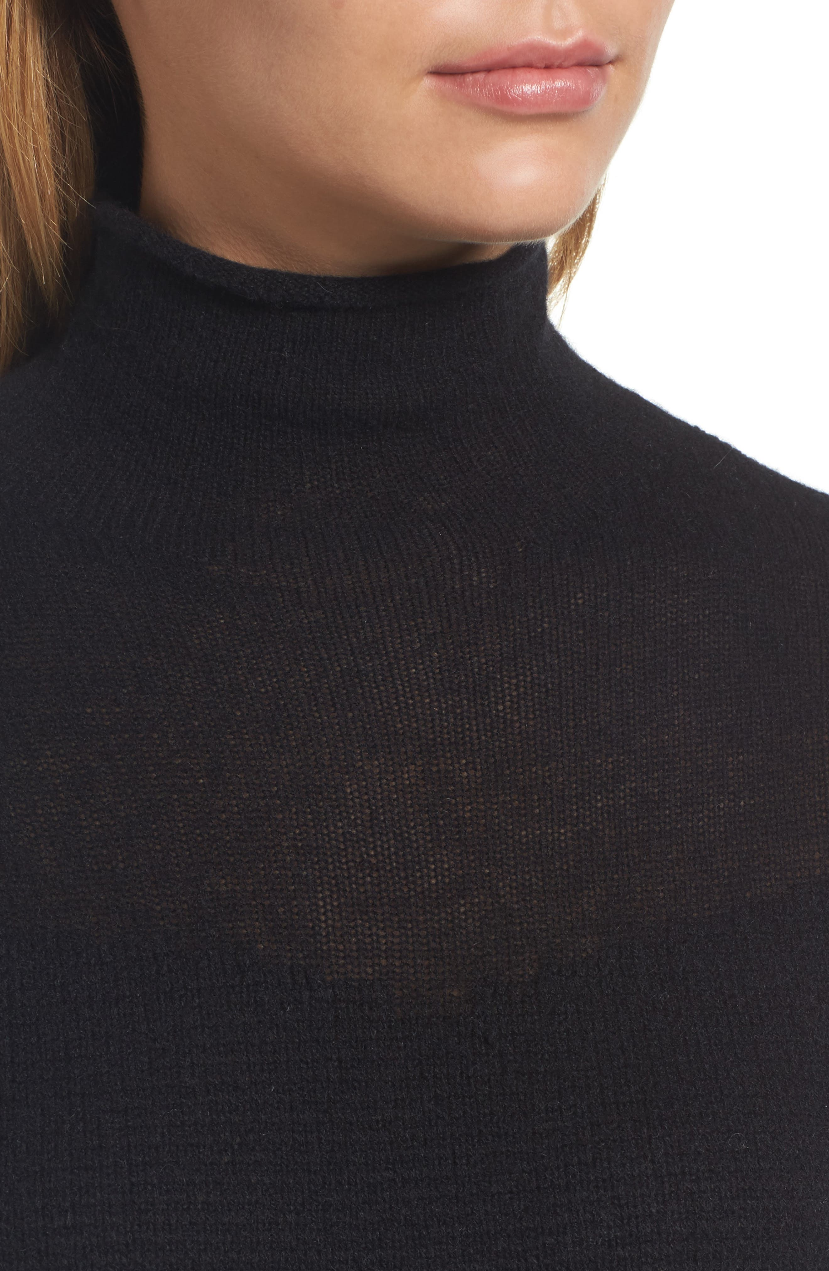 Sheer Yoke Cashmere Sweater,                             Alternate thumbnail 4, color,                             Black