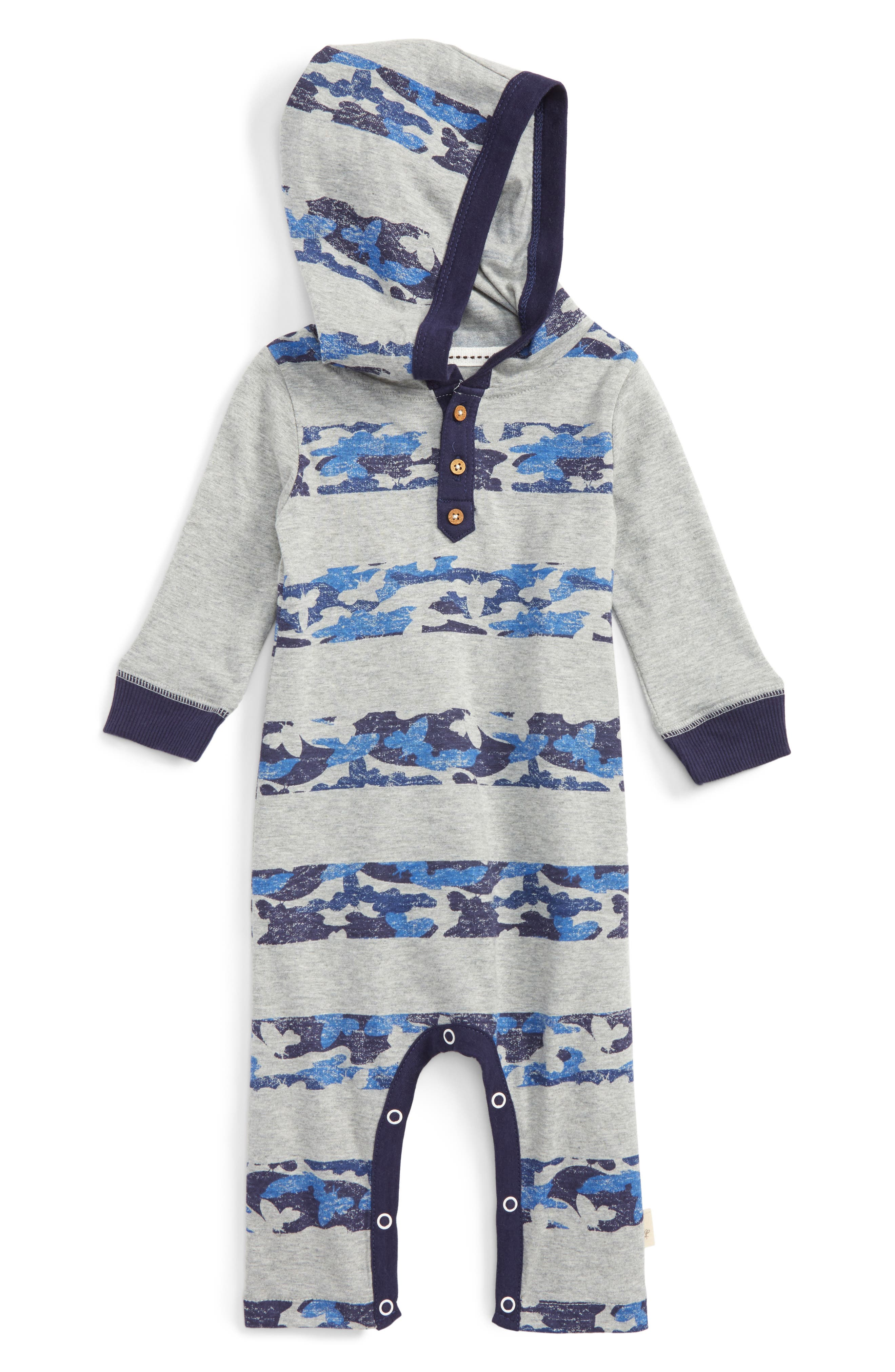 Alternate Image 1 Selected - Burt's Bees Baby Stripe Hooded Romper (Baby Boys)